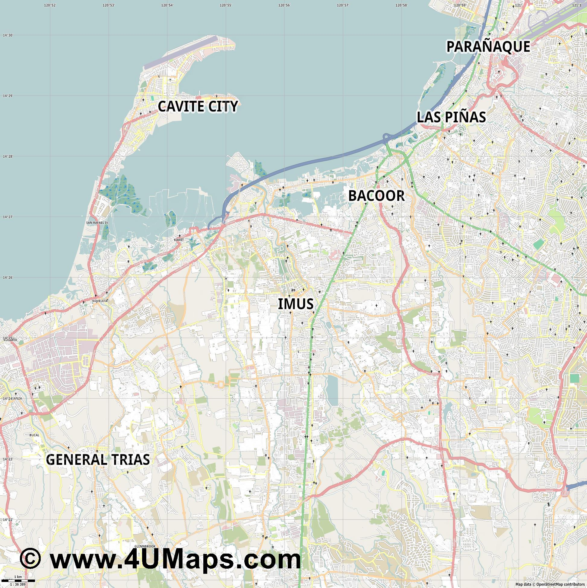 Imus  jpg high detail, large area preview vector city map