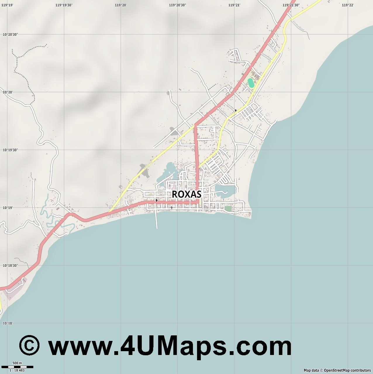 Roxas  jpg ultra high detail preview vector city map