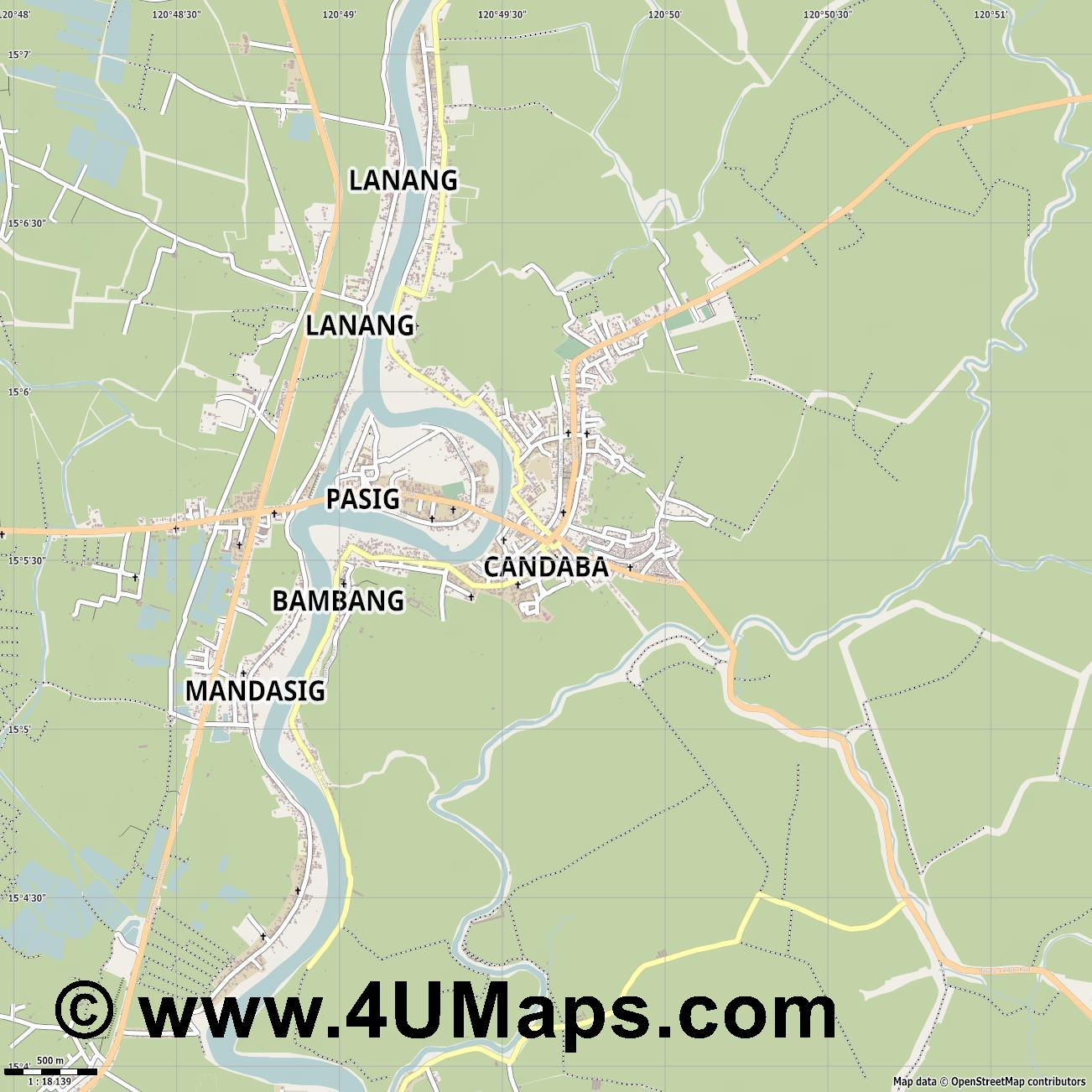 Candaba  jpg ultra high detail preview vector city map