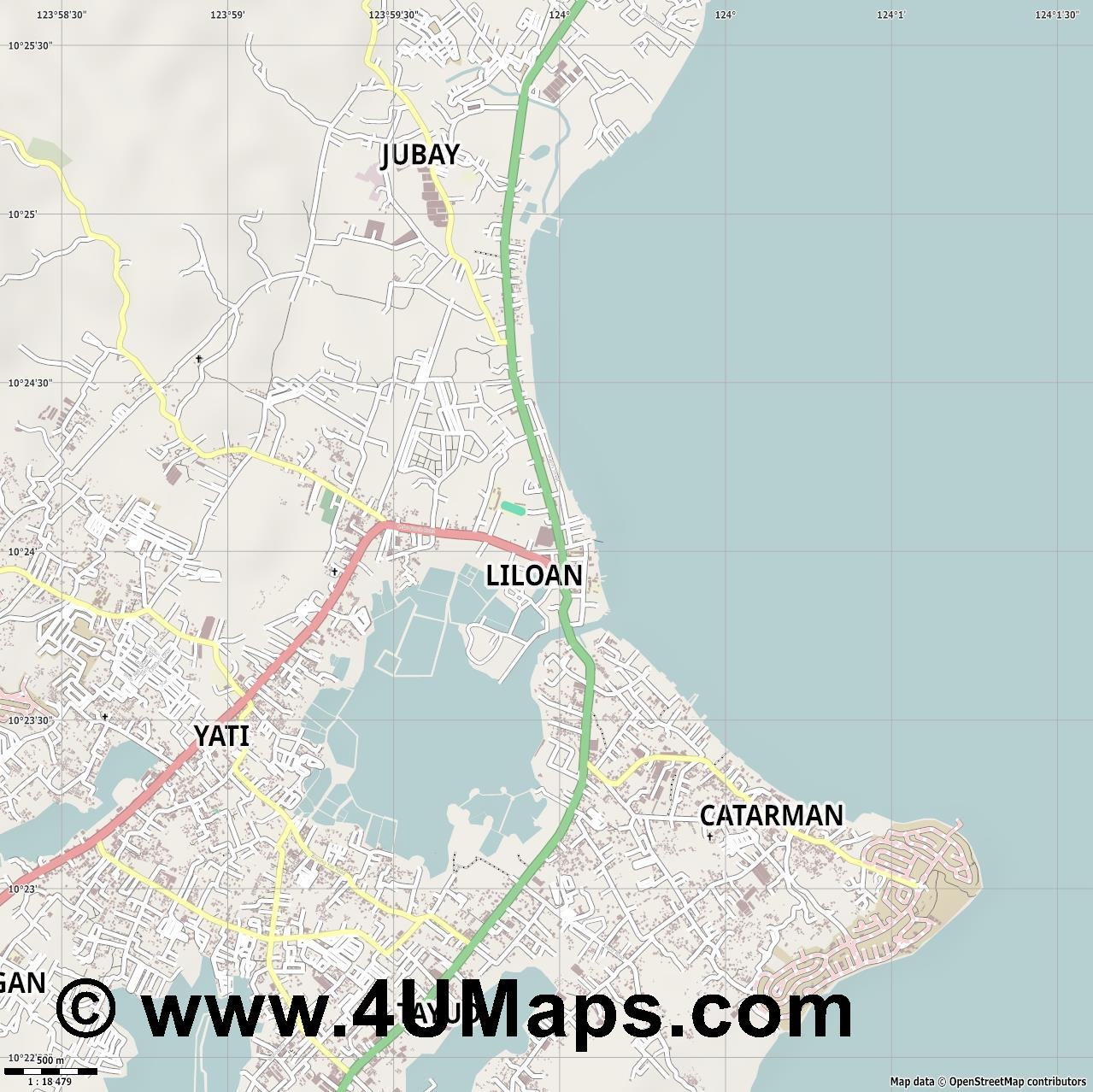Liloan  jpg ultra high detail preview vector city map