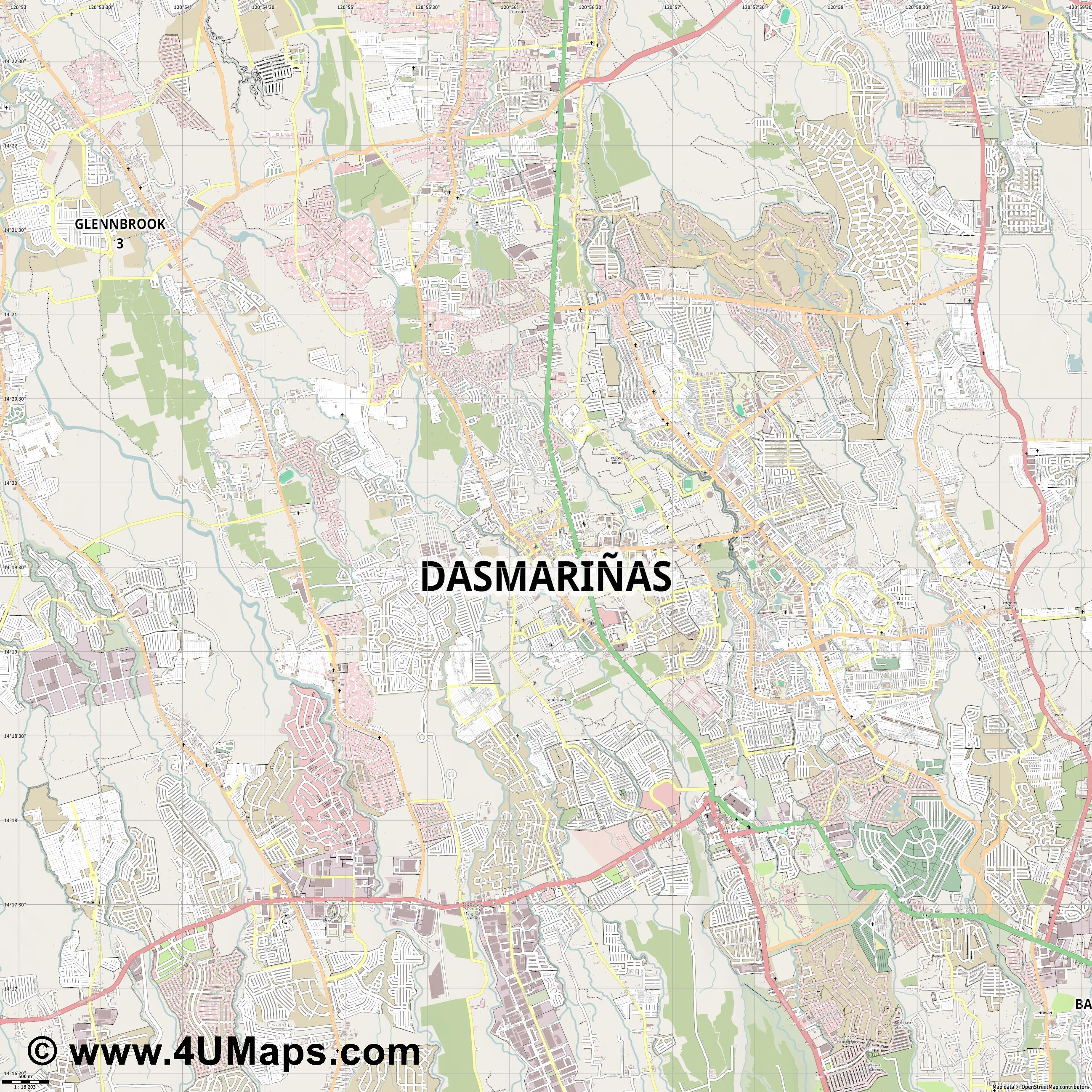 Dasmariñas  jpg ultra high detail preview vector city map
