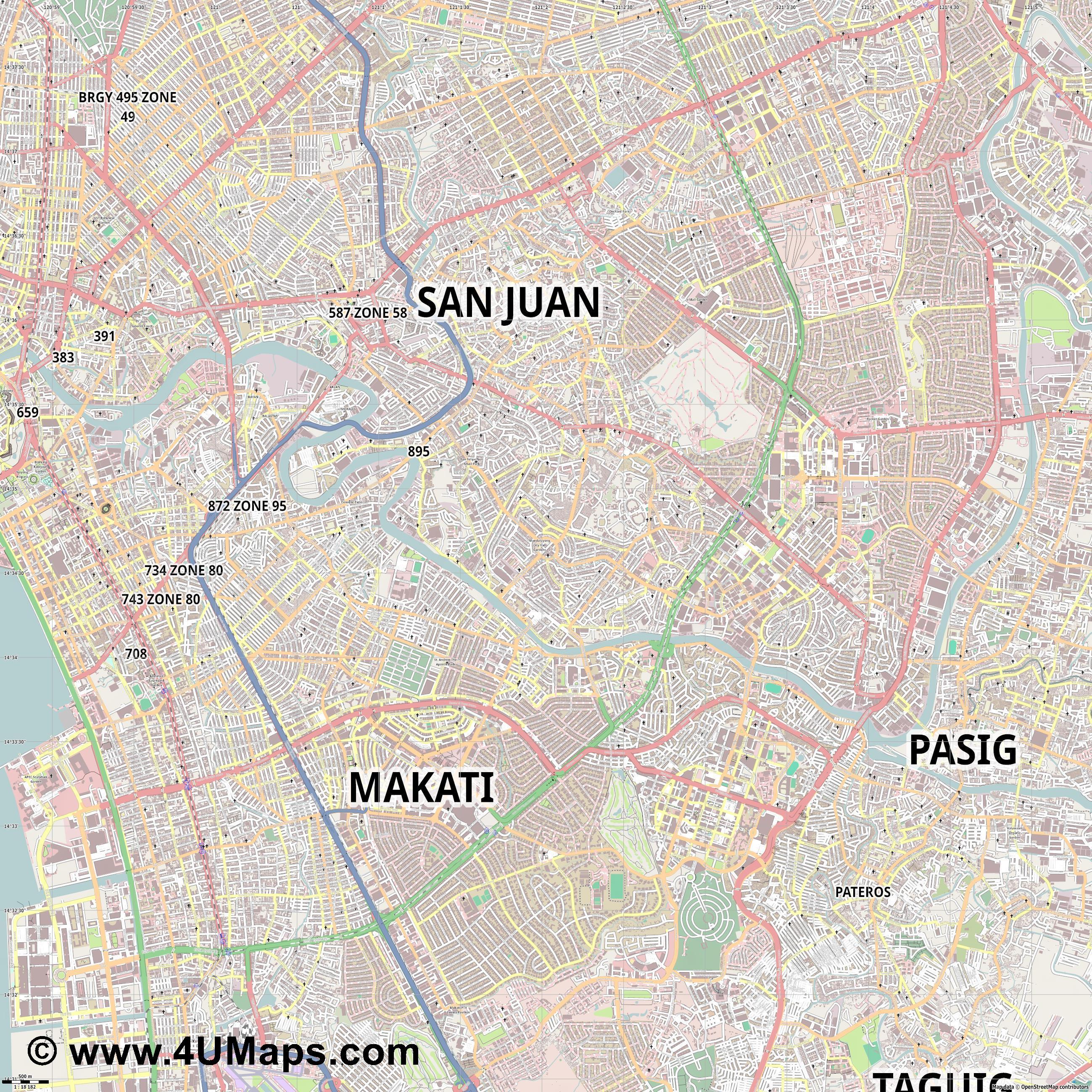 Svg Scalable Vector City Map Mandaluyong - Mandaluyong map