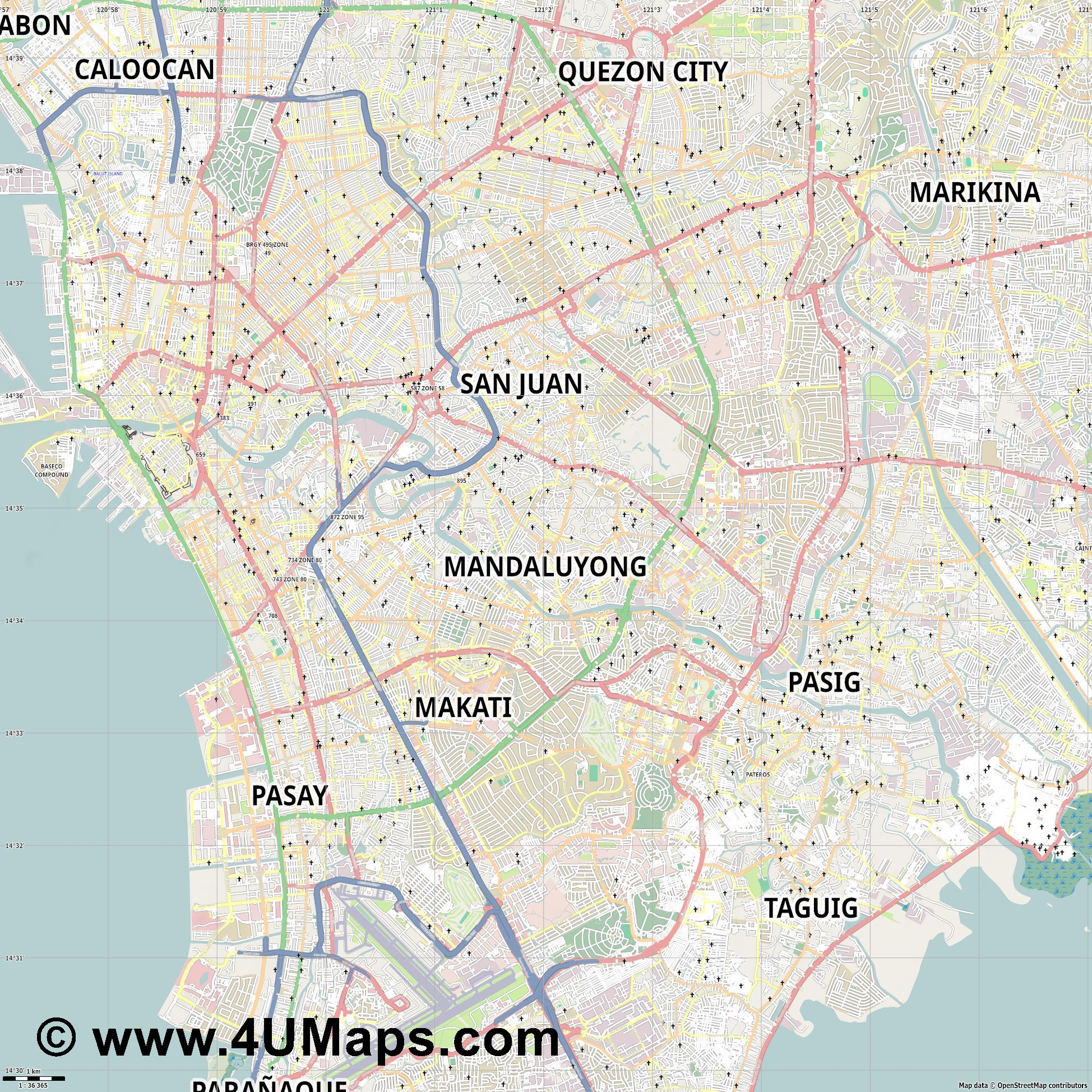 Mandaluyong  jpg high detail, large area preview vector city map