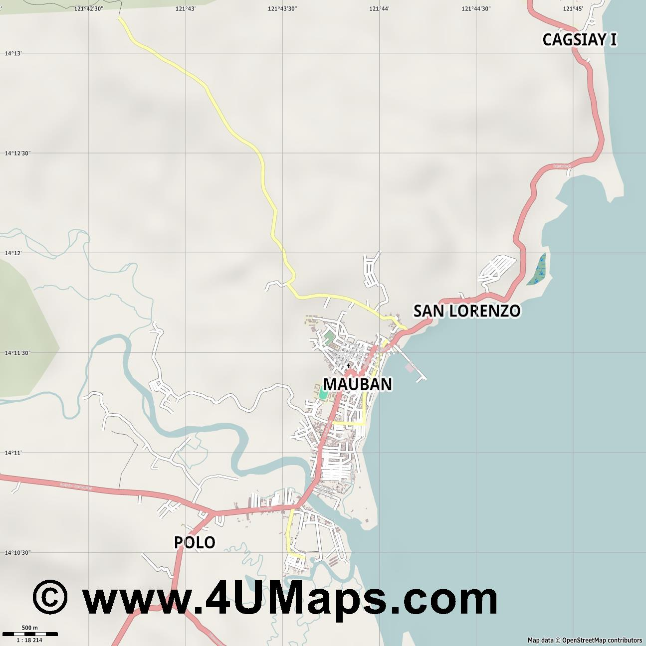 Mauban  jpg ultra high detail preview vector city map