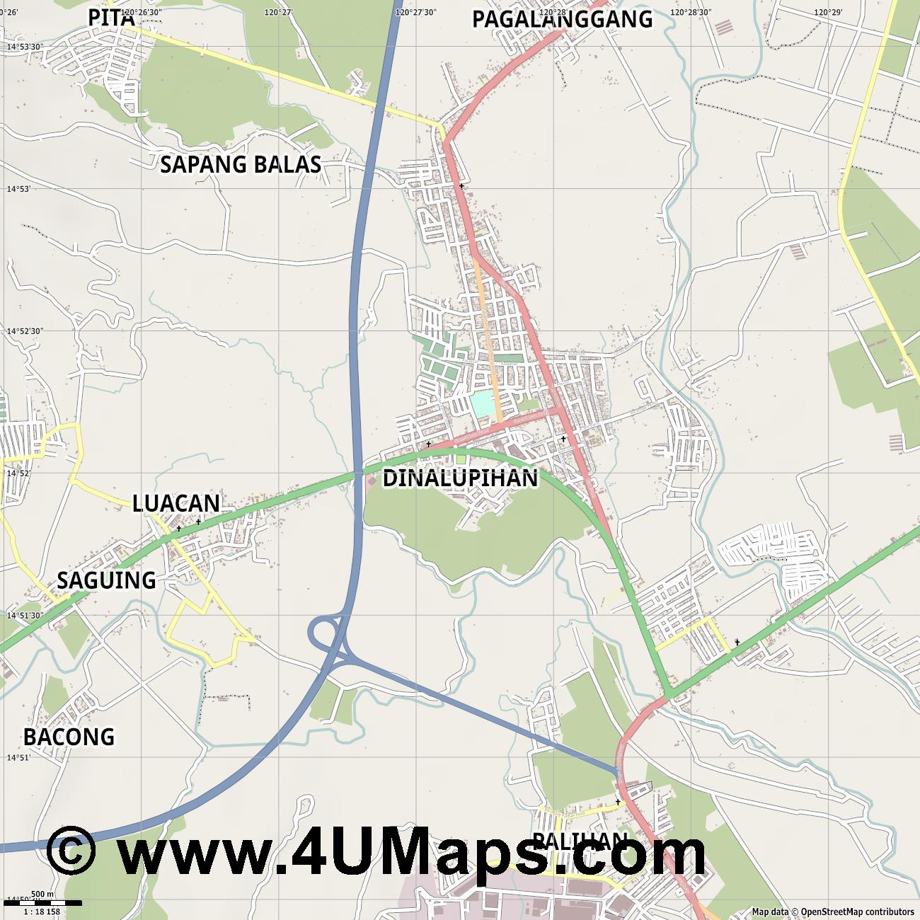 Dinalupihan  jpg ultra high detail preview vector city map