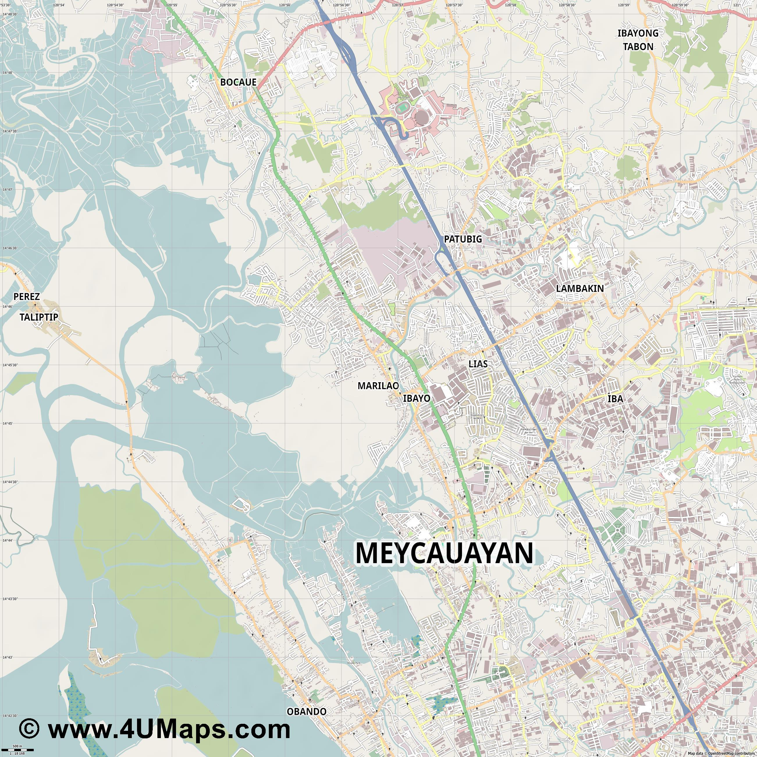 Marilao  jpg ultra high detail preview vector city map
