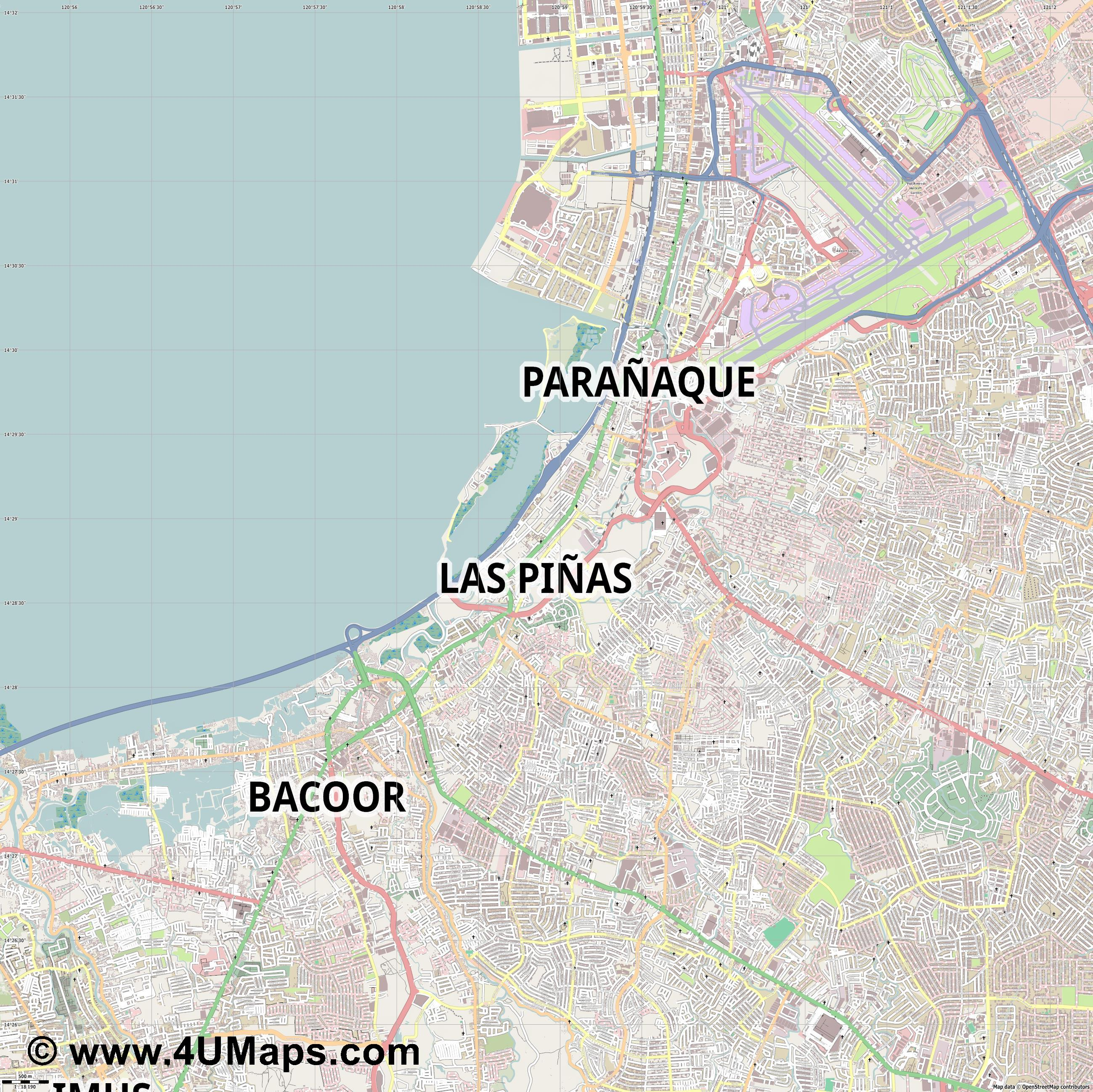 Las Piñas  jpg ultra high detail preview vector city map