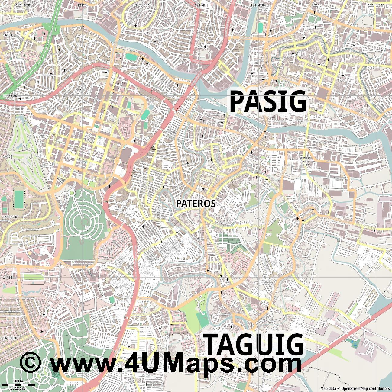 Pateros  jpg ultra high detail preview vector city map