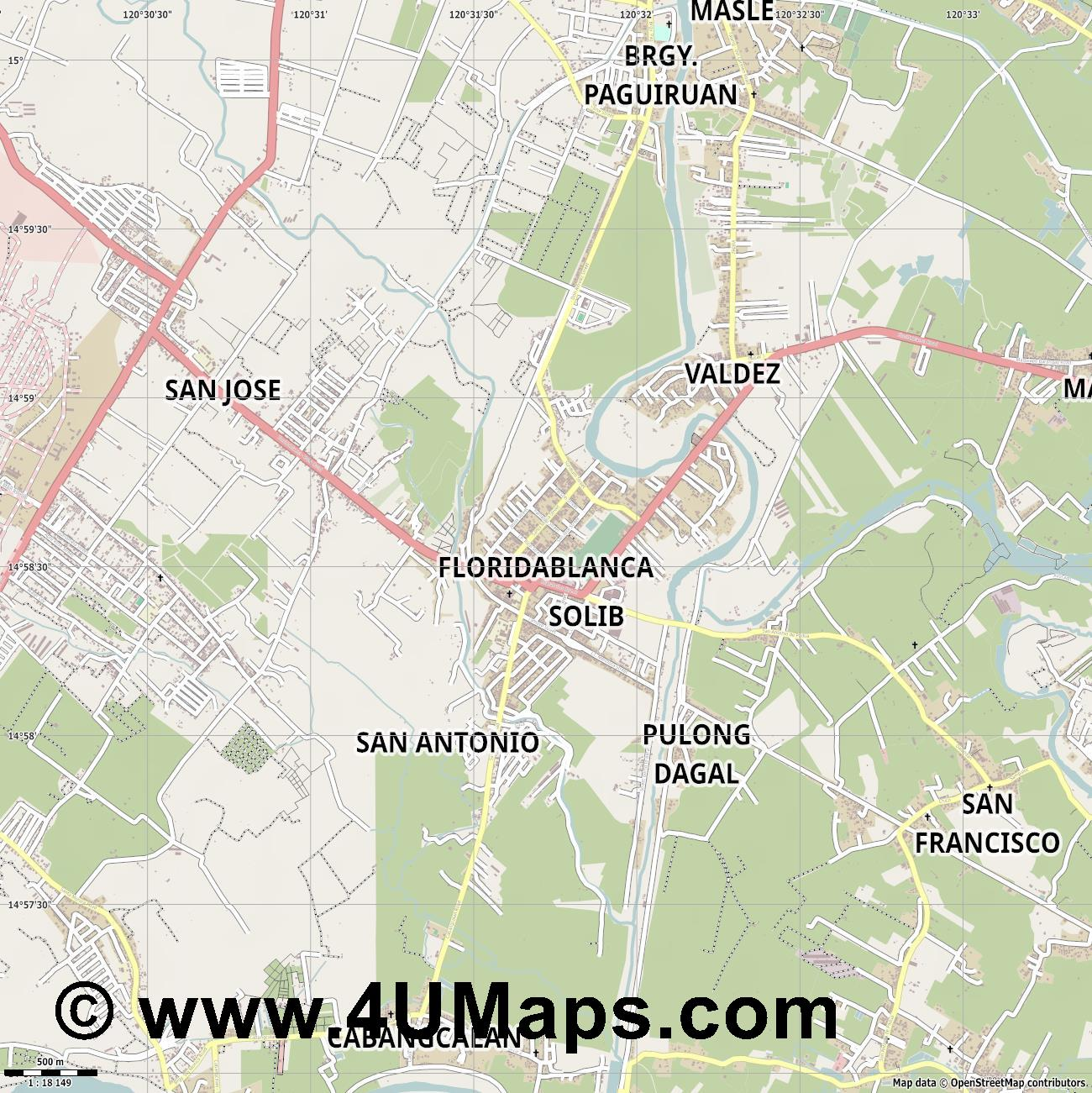 Floridablanca  jpg ultra high detail preview vector city map