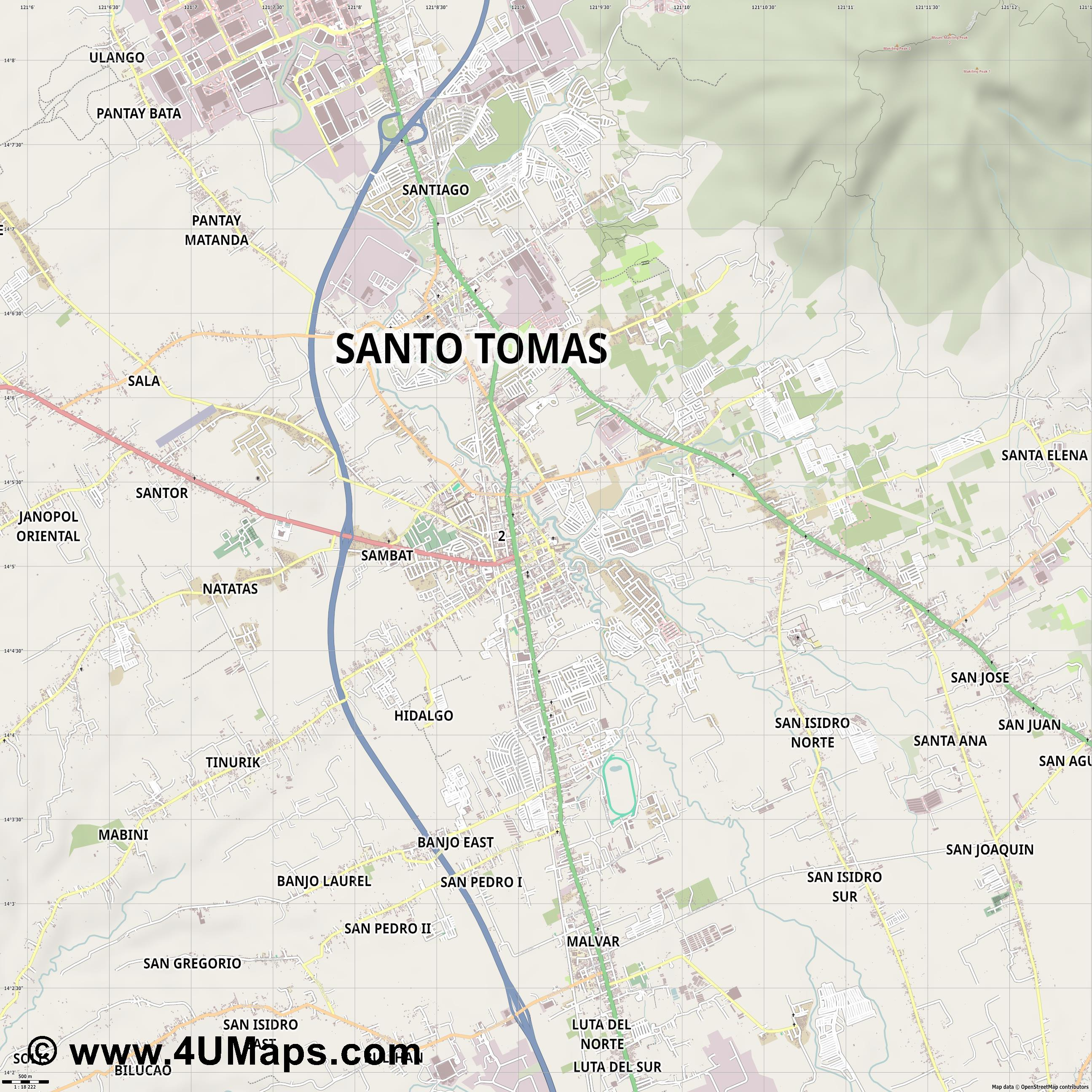 Tanauan  jpg ultra high detail preview vector city map