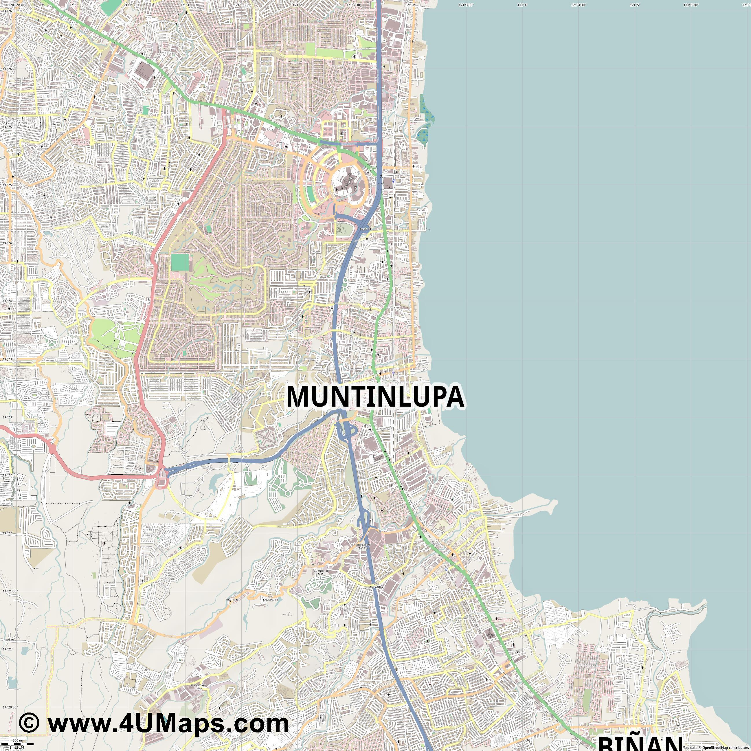 Muntinlupa  jpg ultra high detail preview vector city map
