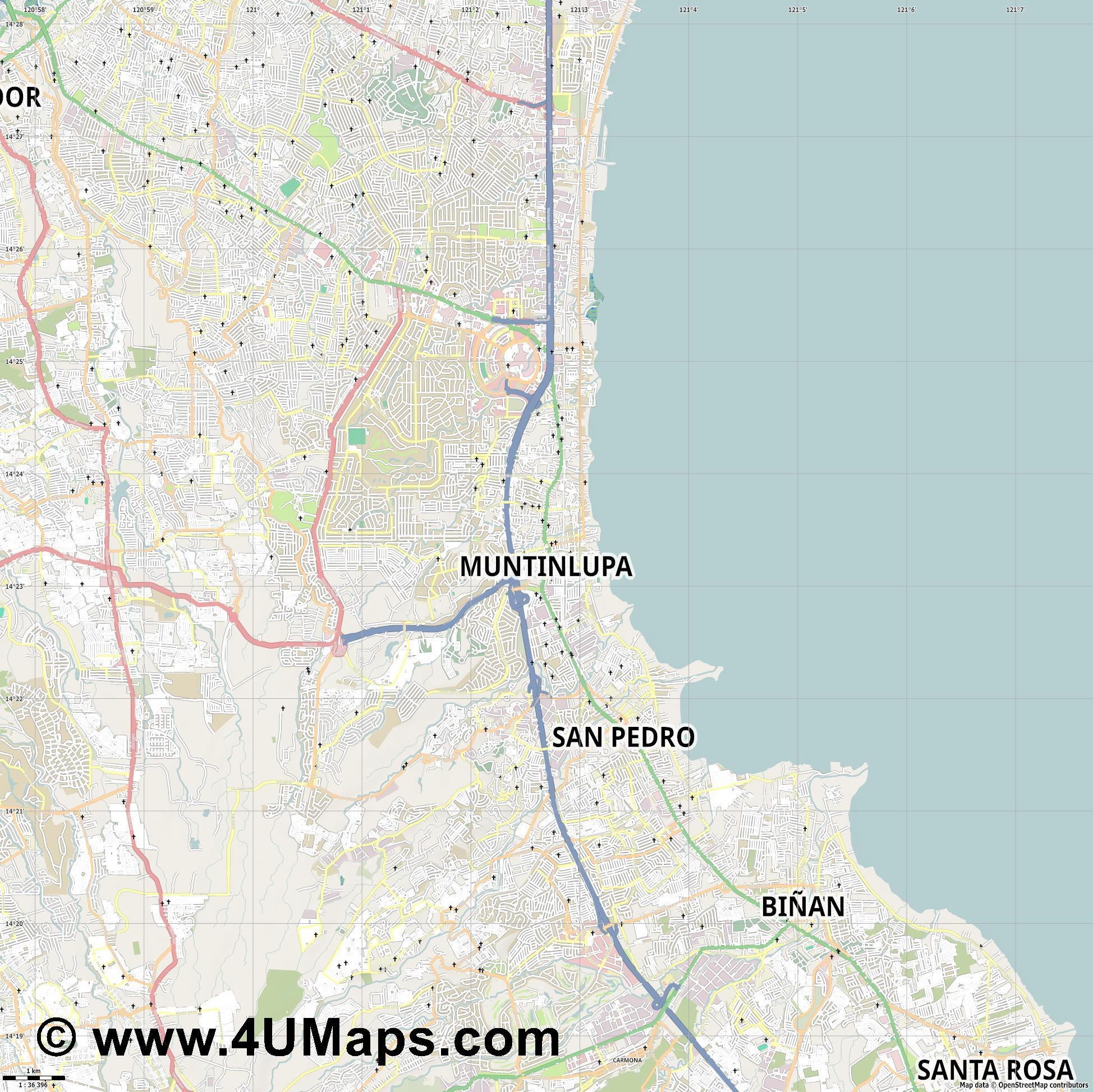Muntinlupa  jpg high detail, large area preview vector city map
