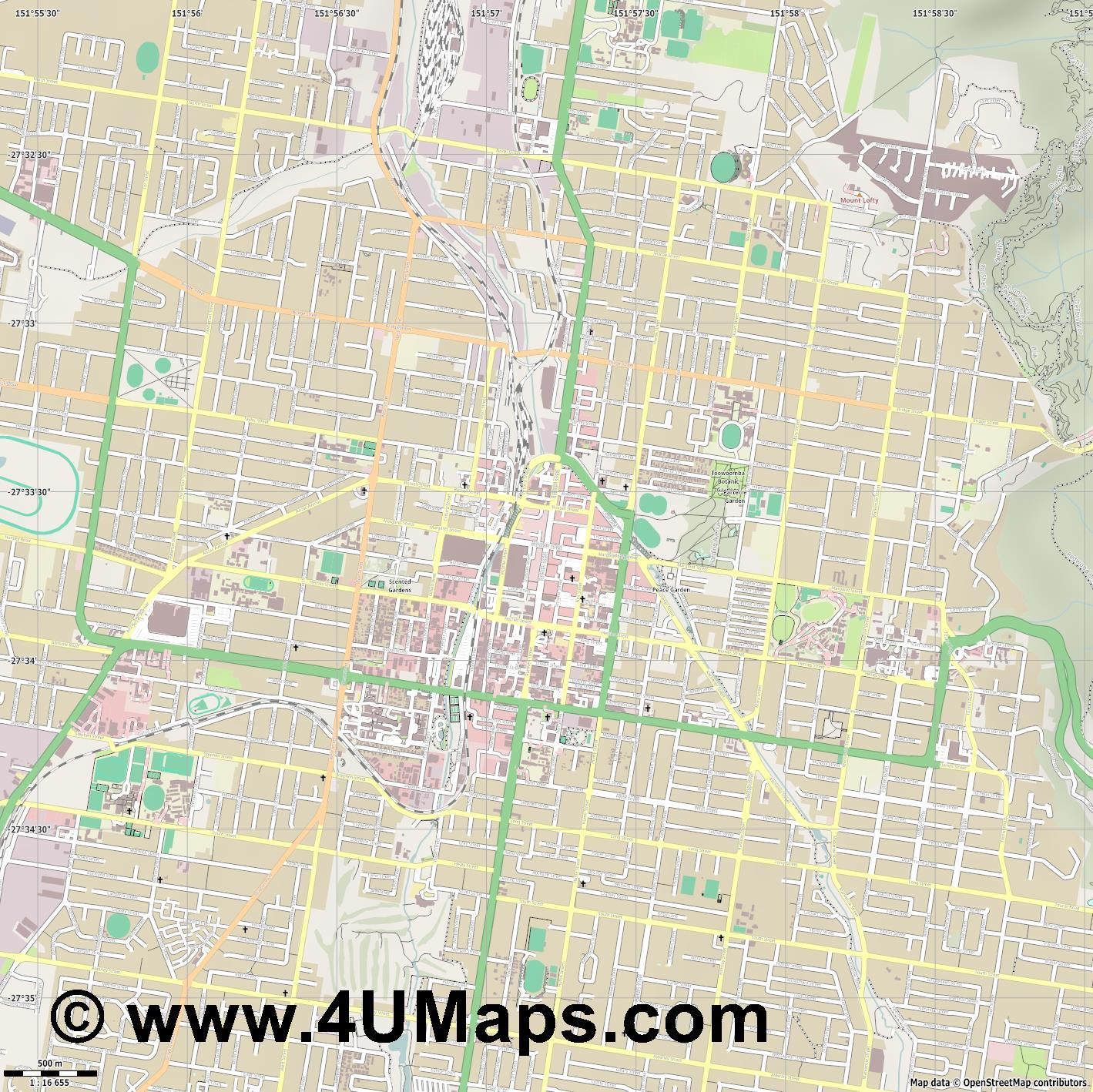 Toowoomba  jpg ultra high detail preview vector city map