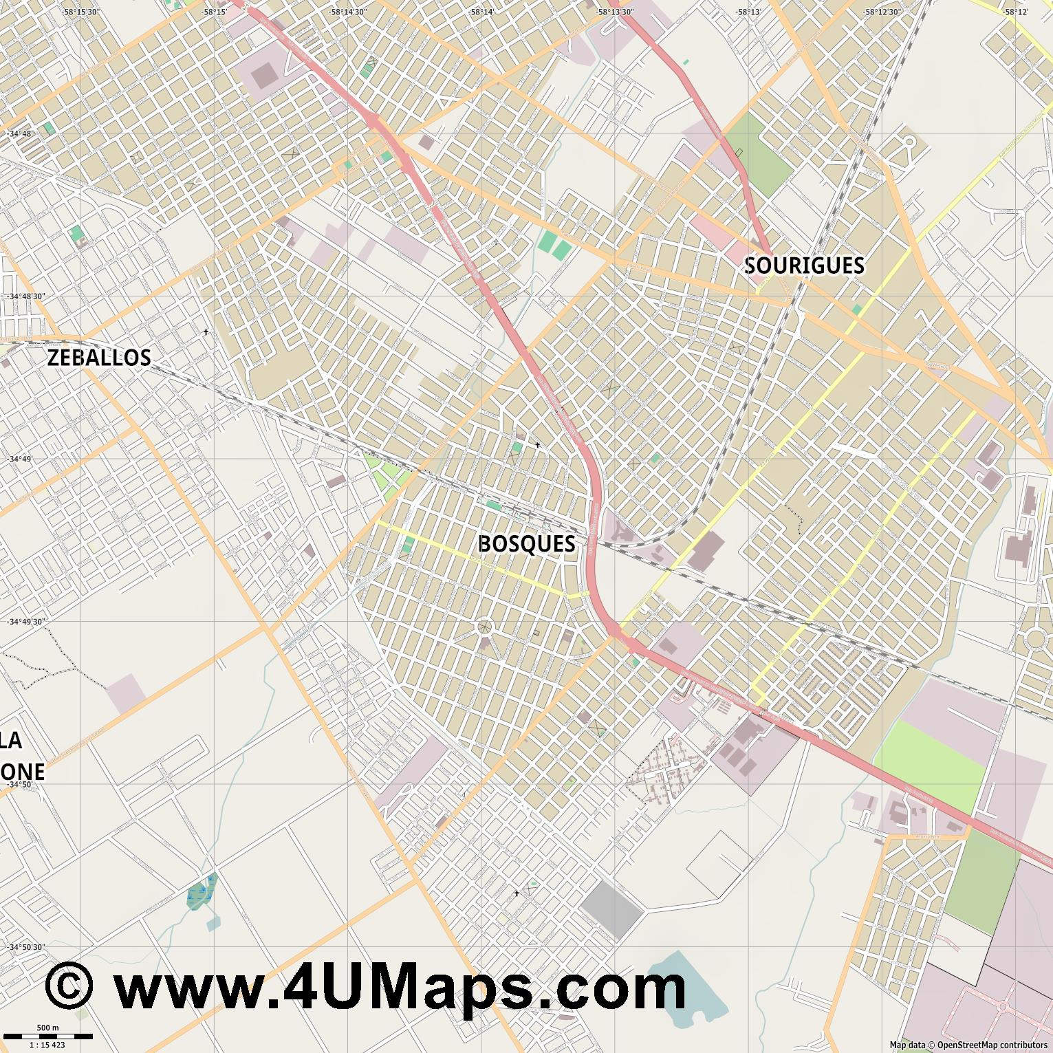 Bosques  jpg ultra high detail preview vector city map