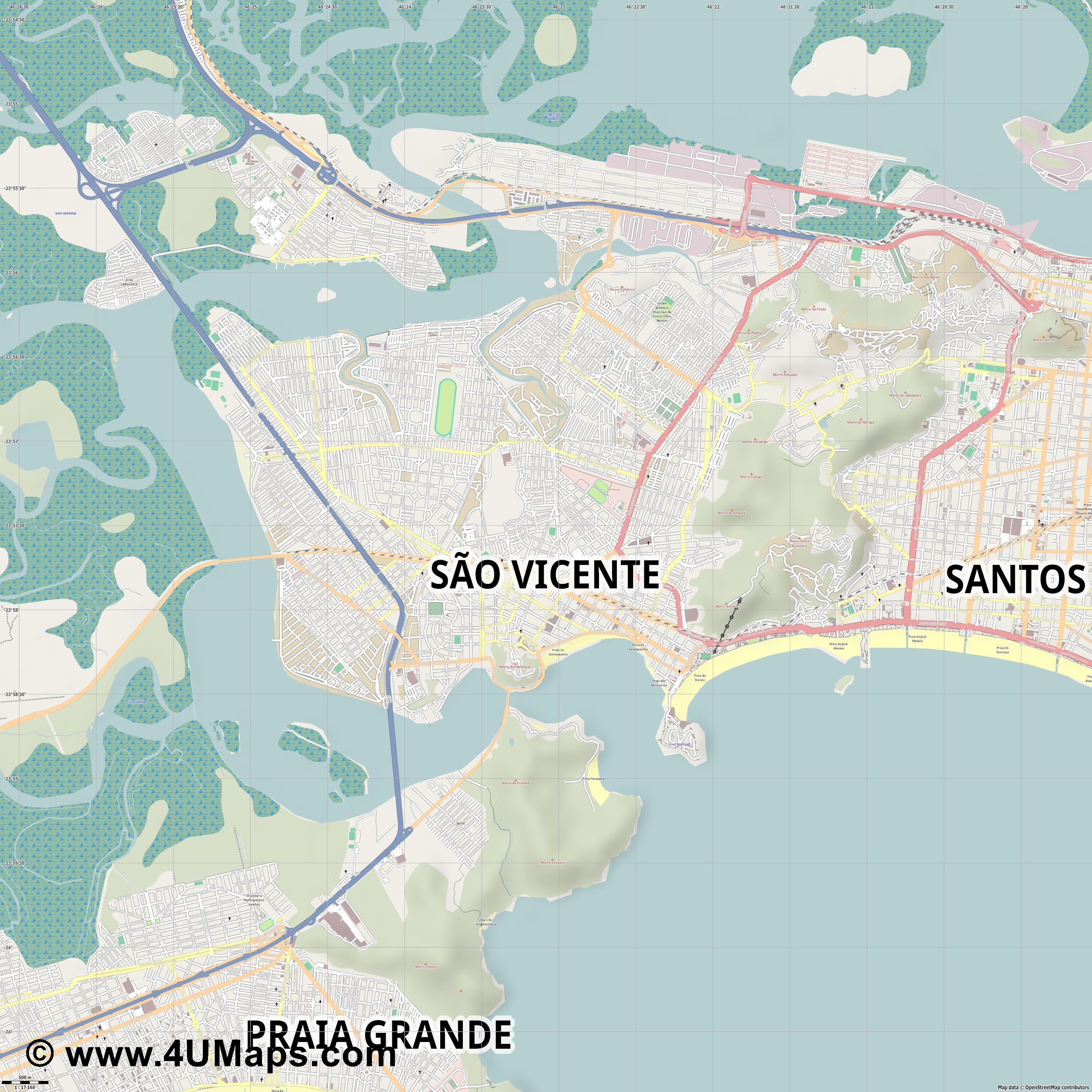 São Vicente  jpg ultra high detail preview vector city map