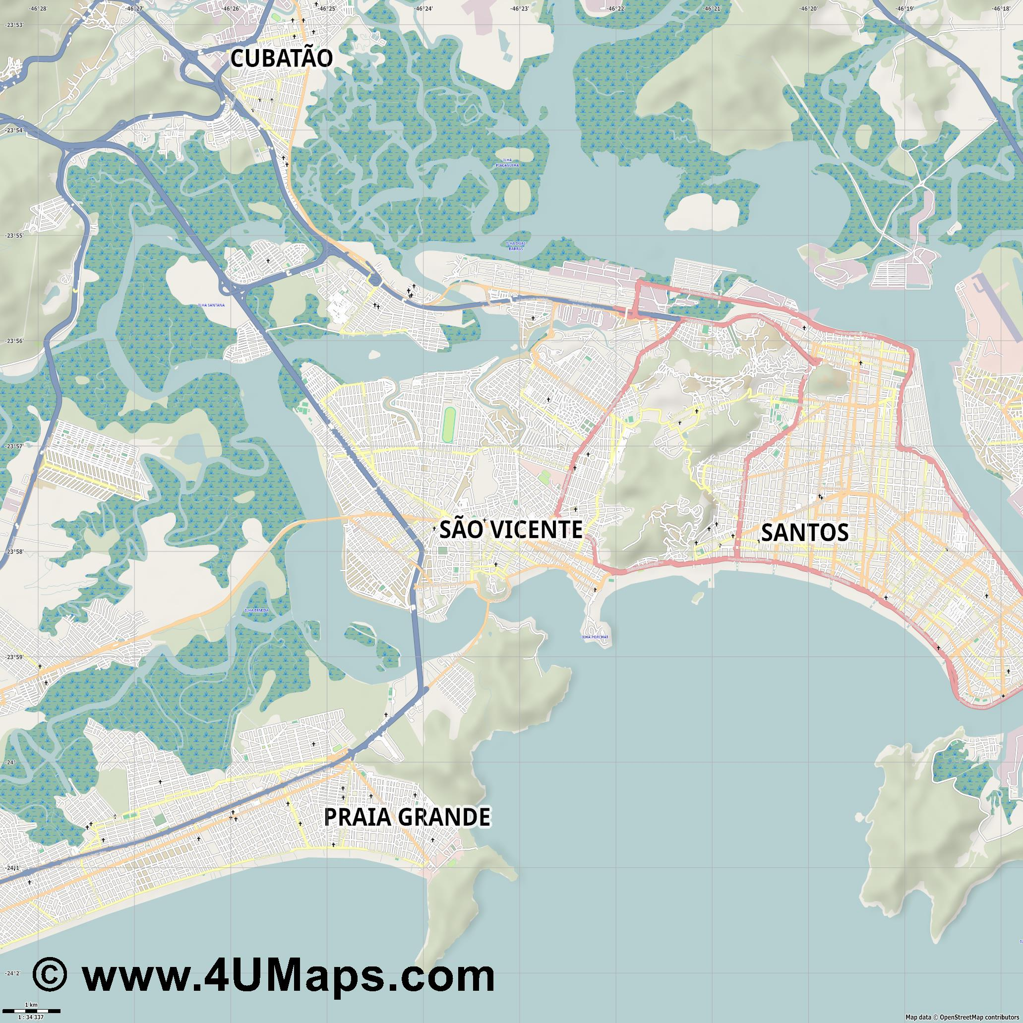 São Vicente  jpg high detail, large area preview vector city map