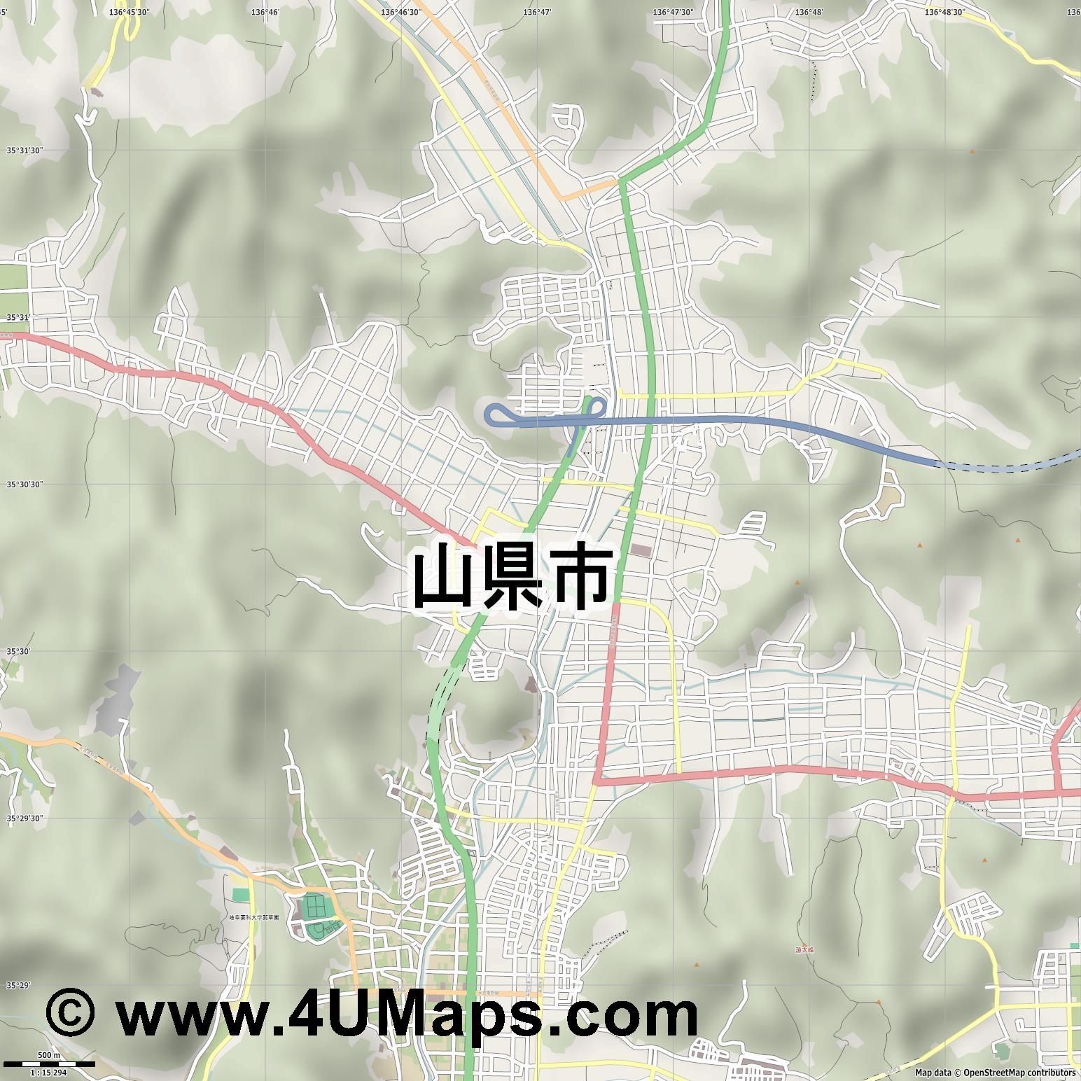山県市  Yamagata   jpg ultra high detail preview vector city map