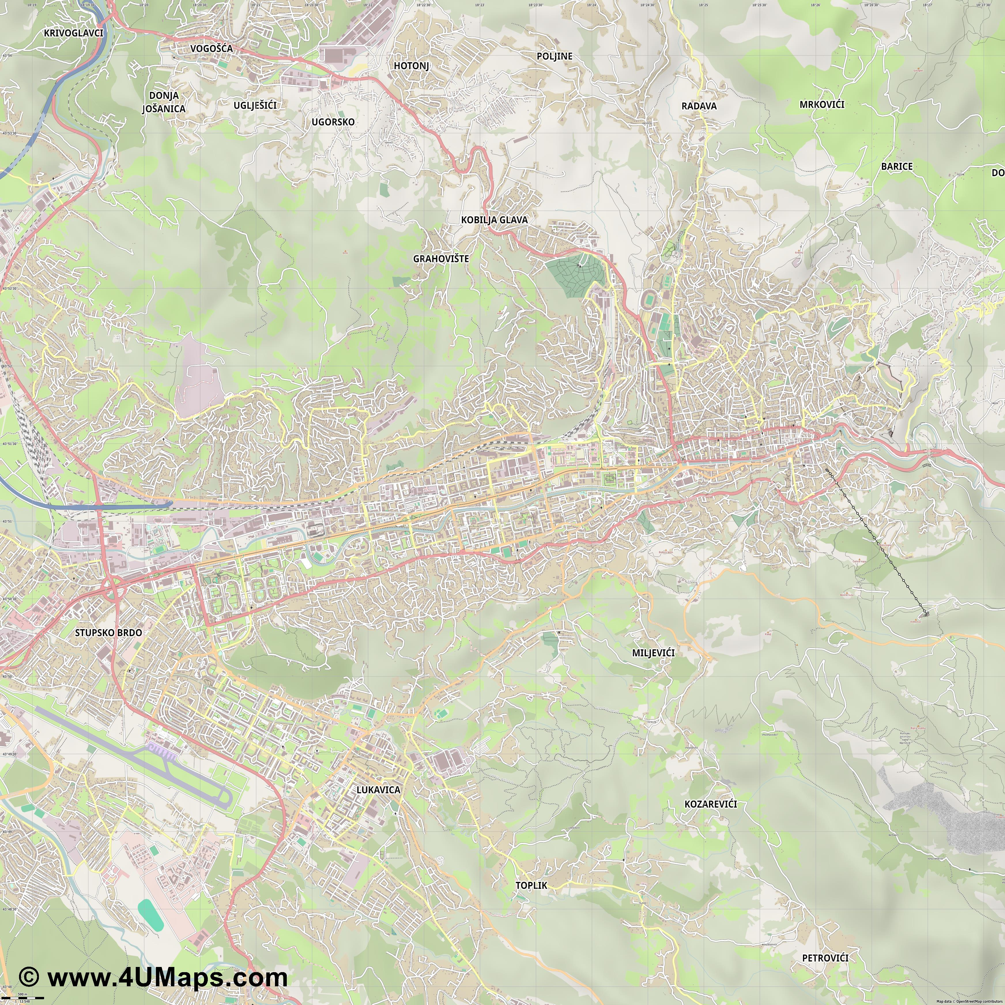 Sarajevo Sarajewo  jpg ultra high detail preview vector city map