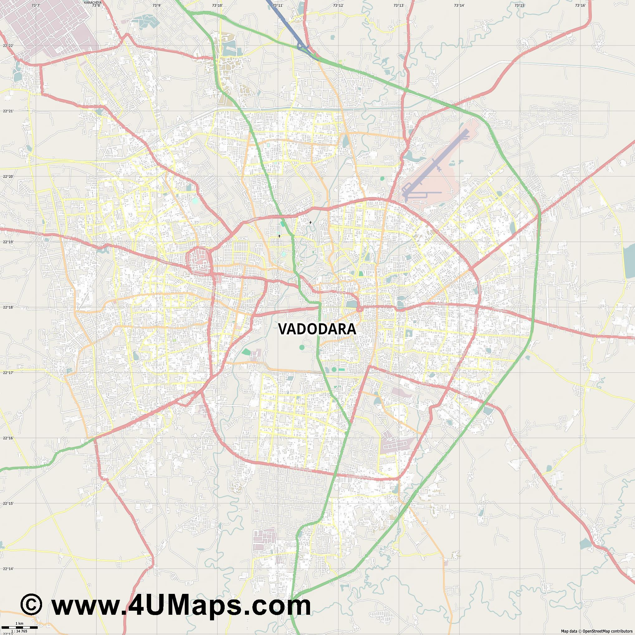 Vadodara  jpg high detail, large area preview vector city map
