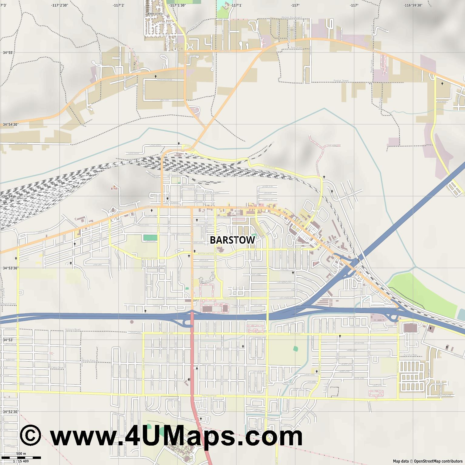 Barstow  jpg ultra high detail preview vector city map