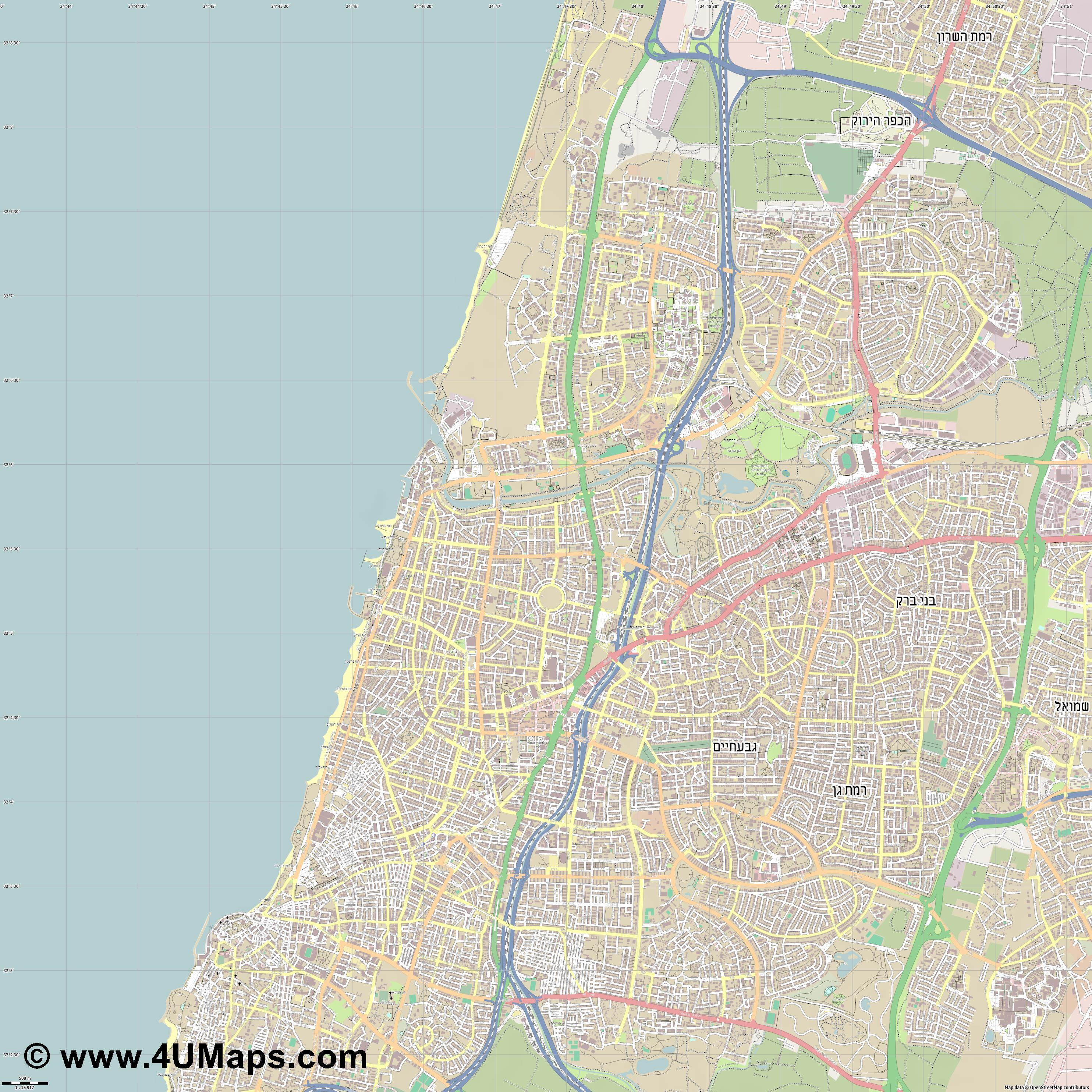 Tel Aviv  jpg ultra high detail preview vector city map