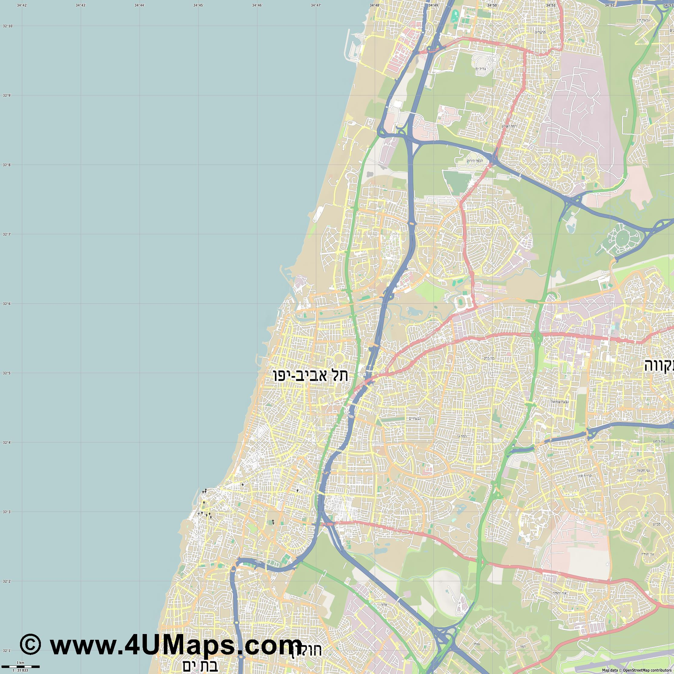 Tel Aviv  jpg high detail, large area preview vector city map