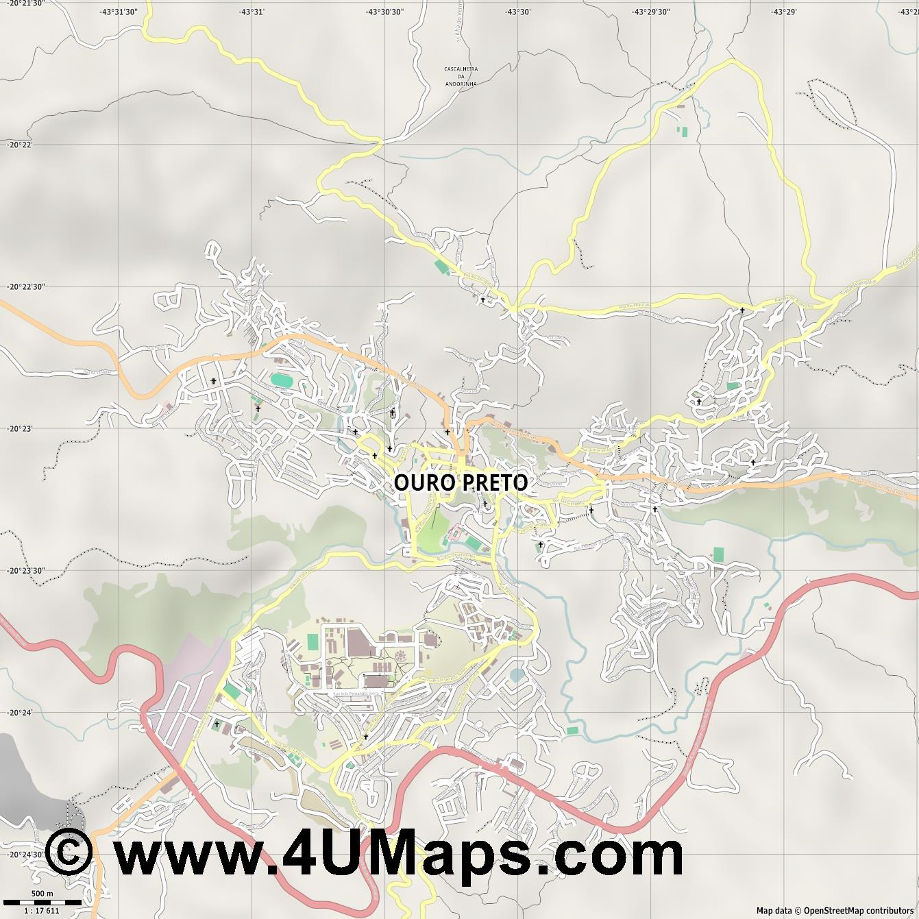 Ouro Preto  jpg ultra high detail preview vector city map