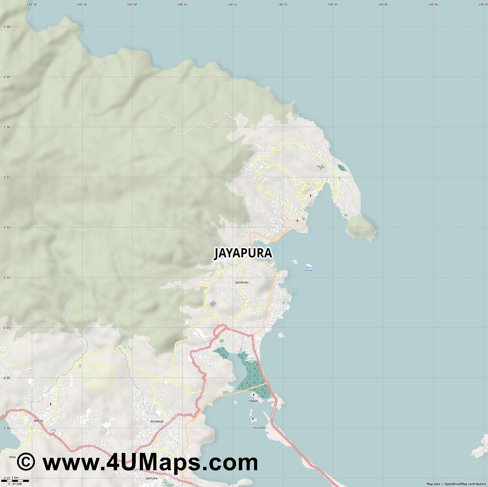 Jayapura  jpg high detail, large area preview vector city map
