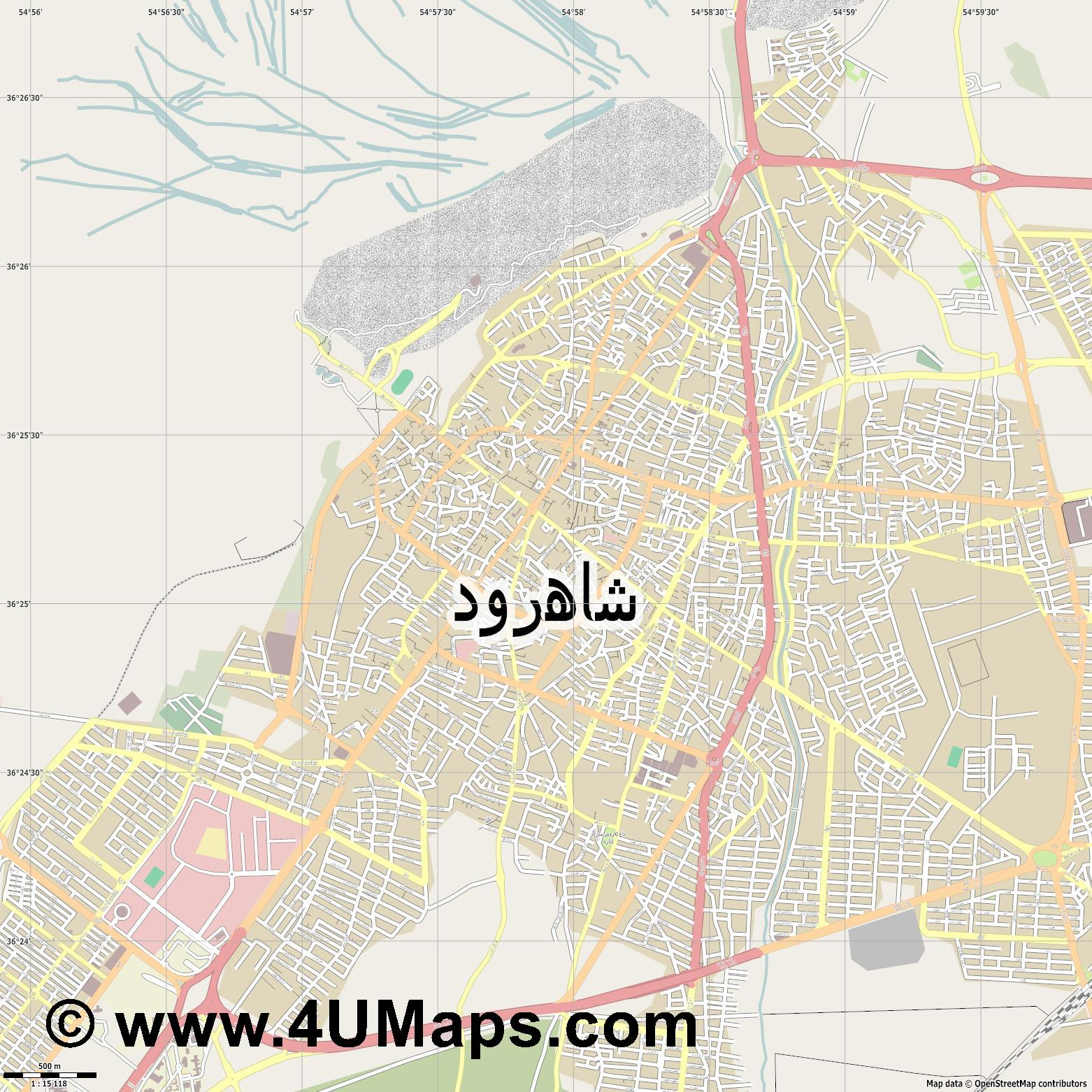 شاهرود Shahrud Shahroud Schahrud  jpg ultra high detail preview vector city map