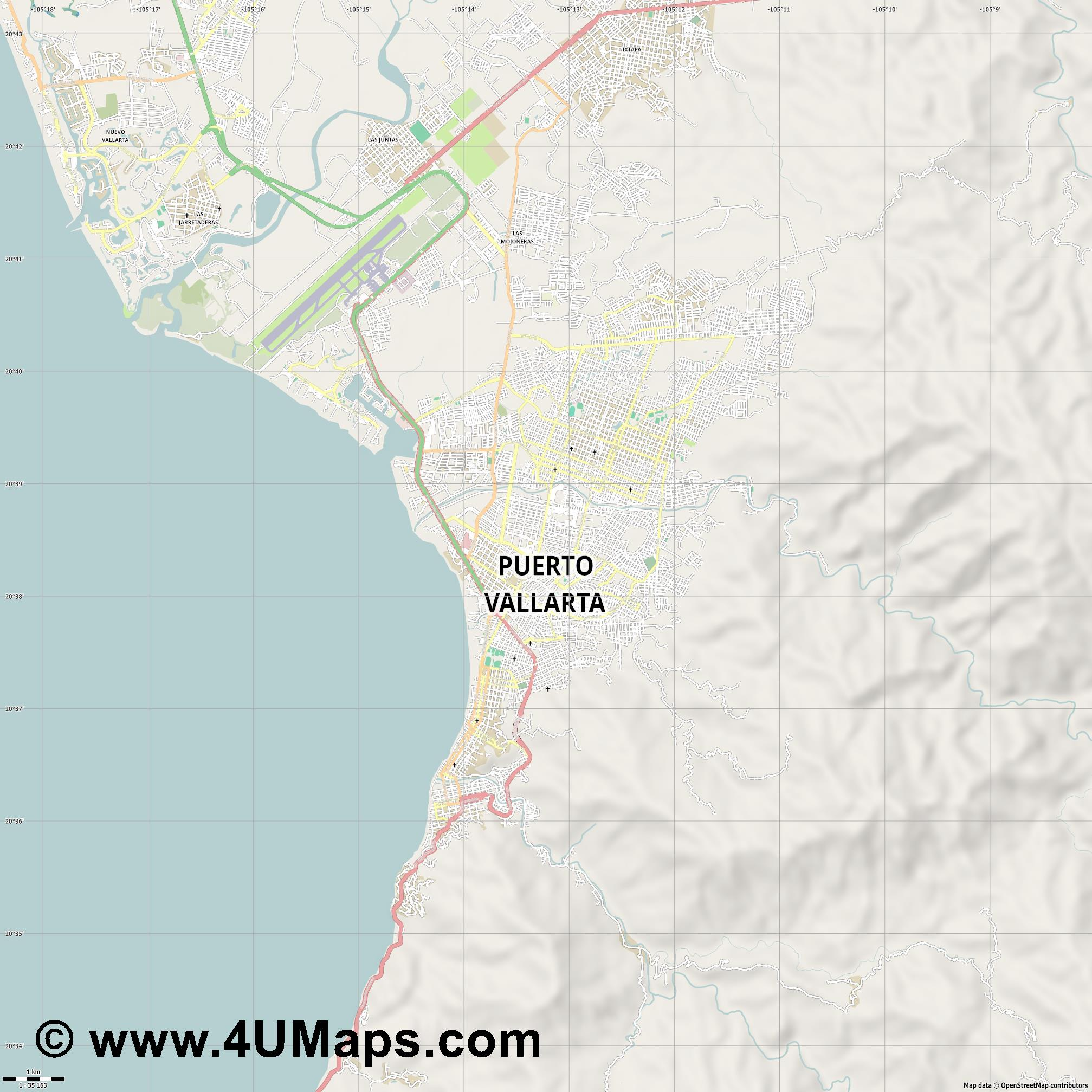 Puerto Vallarta  jpg high detail, large area preview vector city map