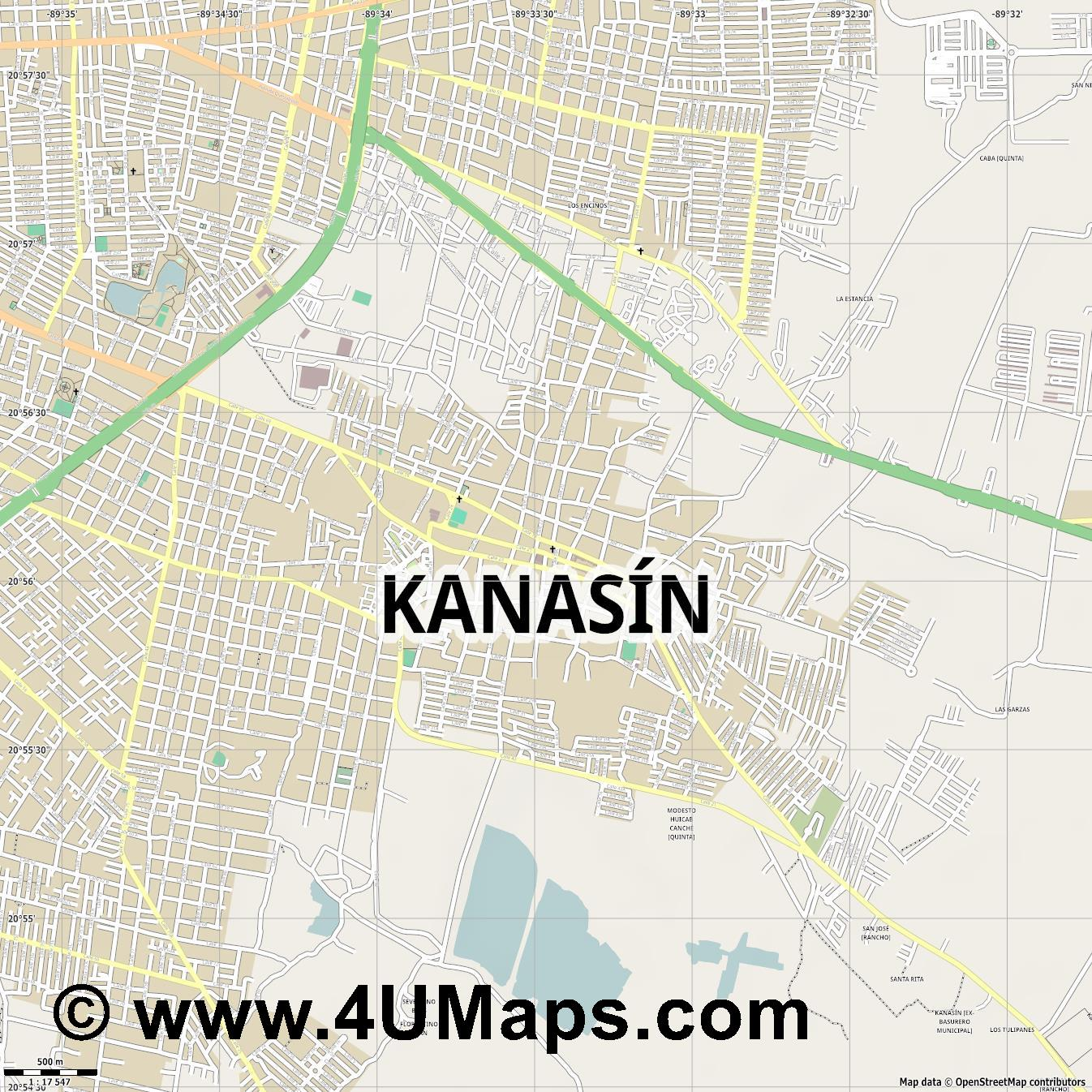 Kanasín  jpg ultra high detail preview vector city map