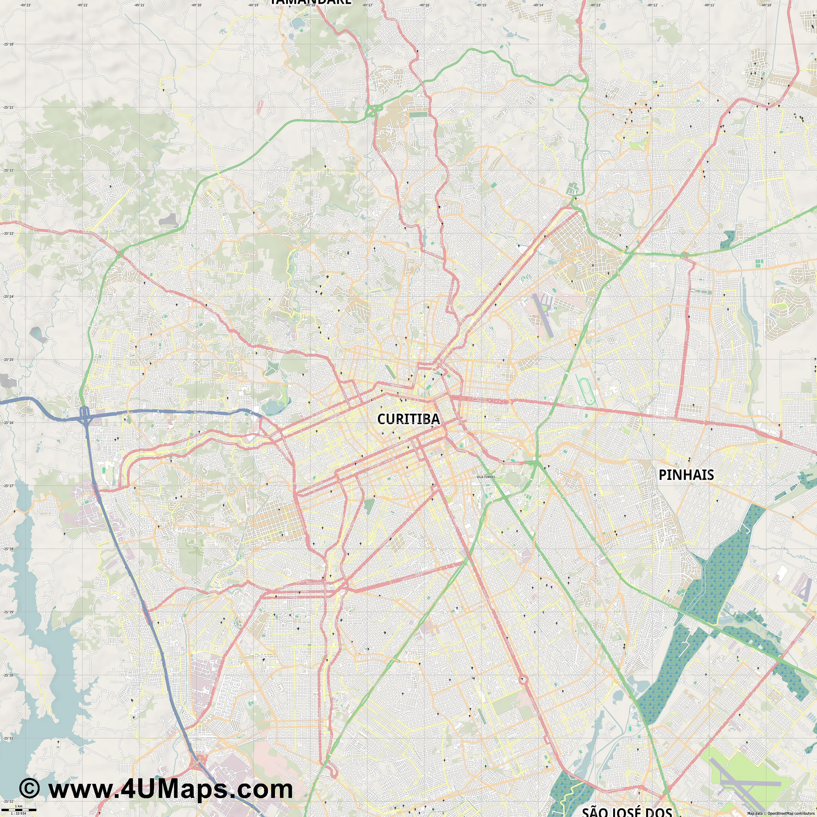 Curitiba  jpg high detail, large area preview vector city map