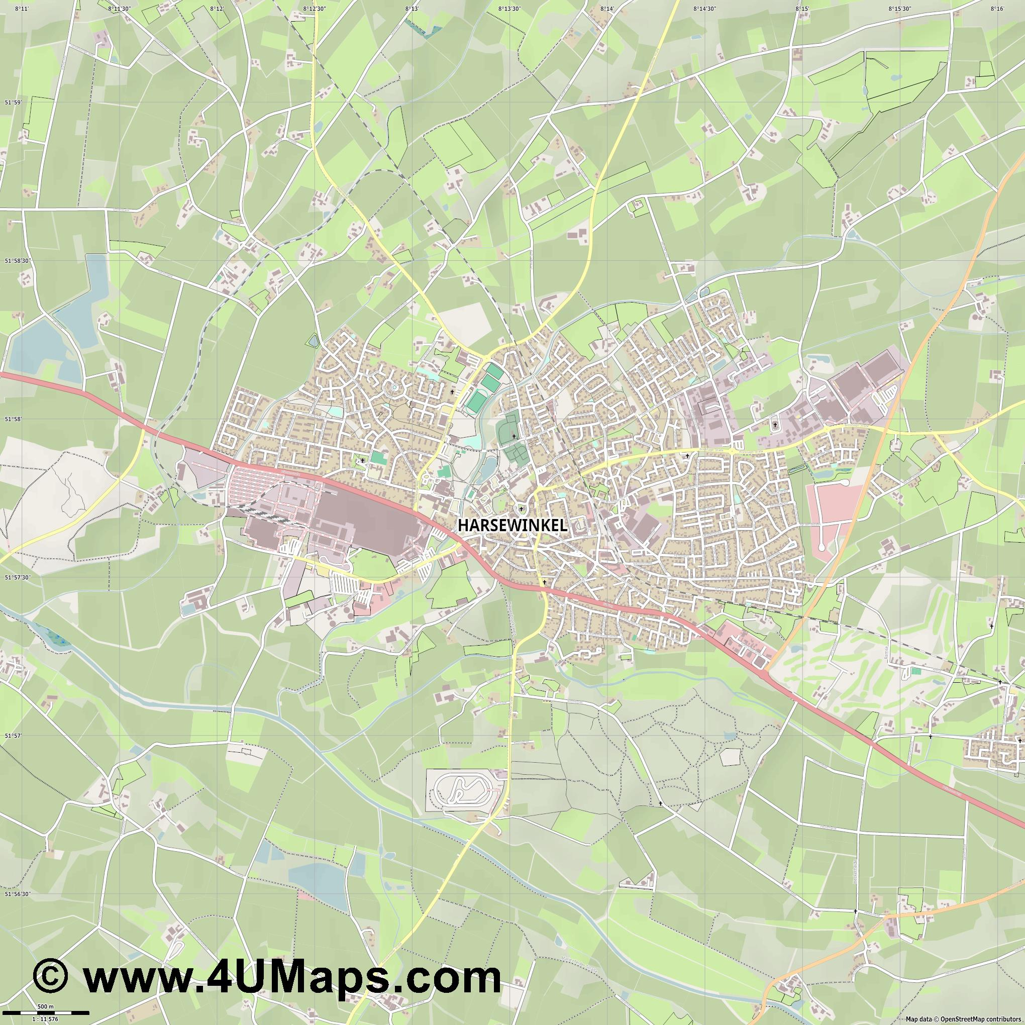 Harsewinkel  jpg ultra high detail preview vector city map