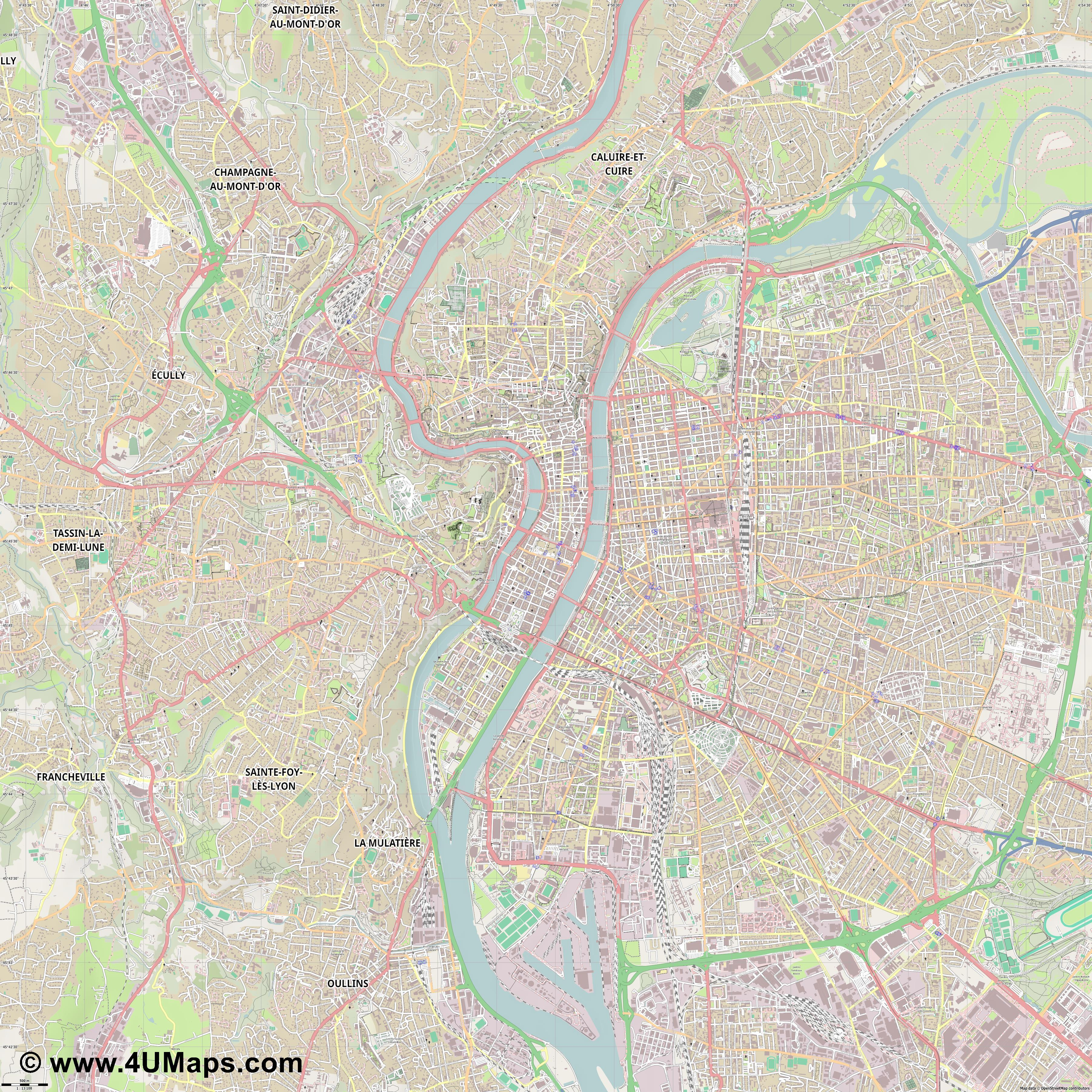 Lyon Lione  jpg ultra high detail preview vector city map