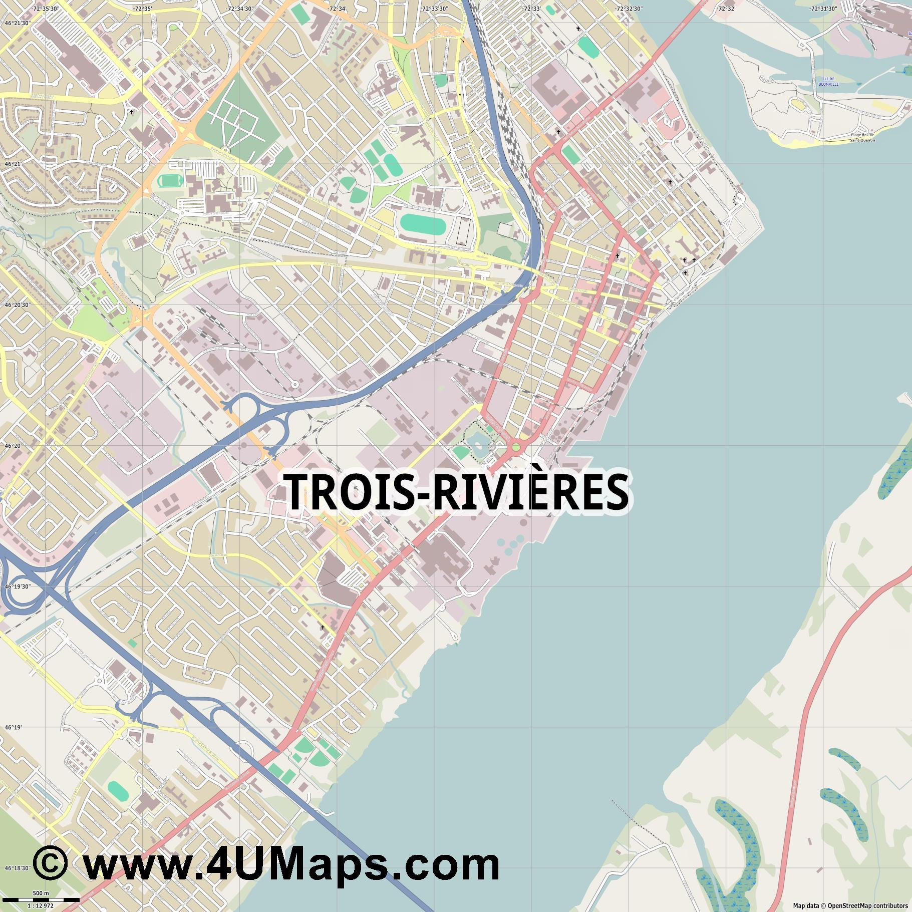 Trois Rivières  jpg ultra high detail preview vector city map