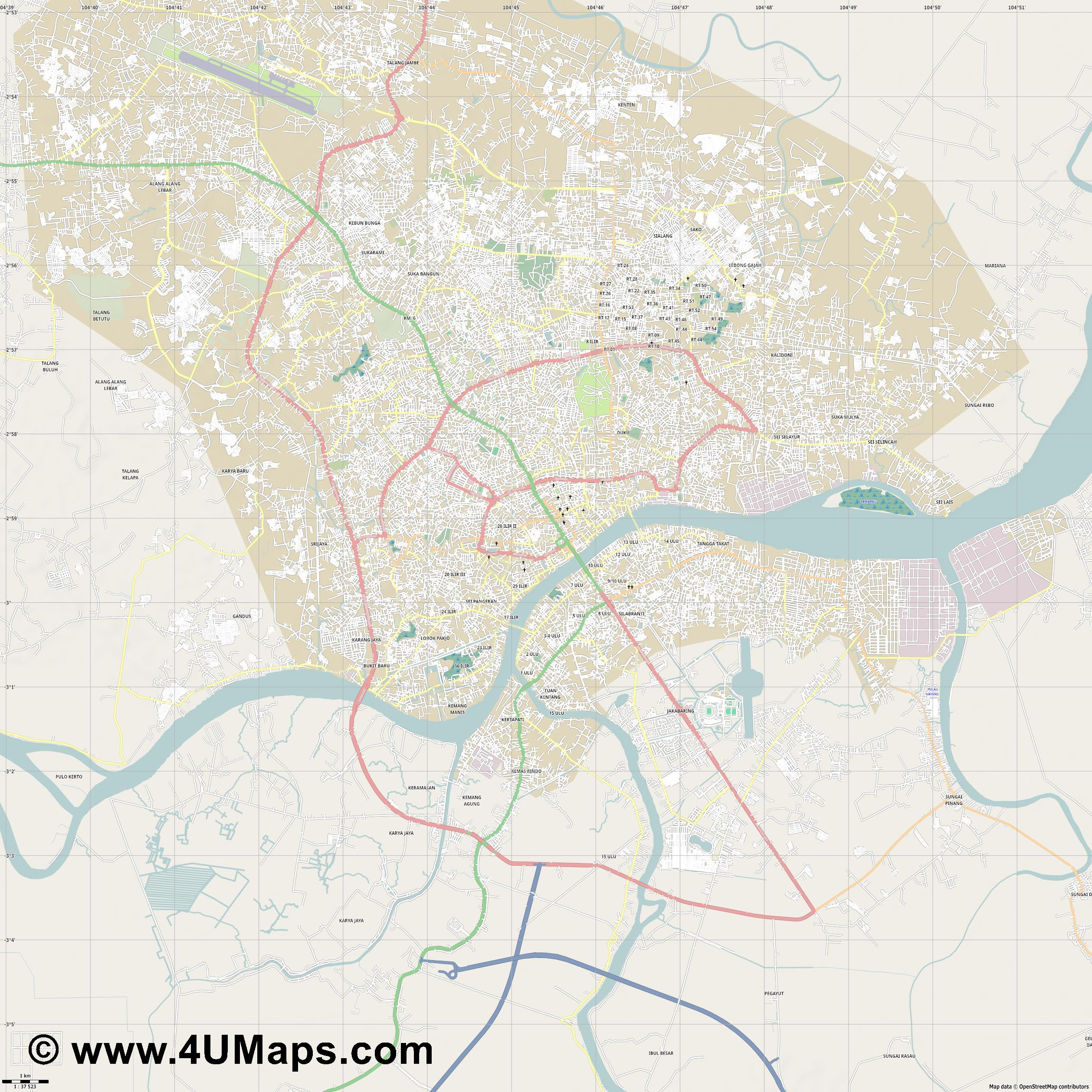 Palembang  jpg high detail, large area preview vector city map
