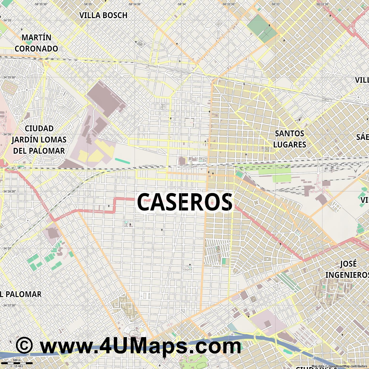 Caseros  jpg ultra high detail preview vector city map