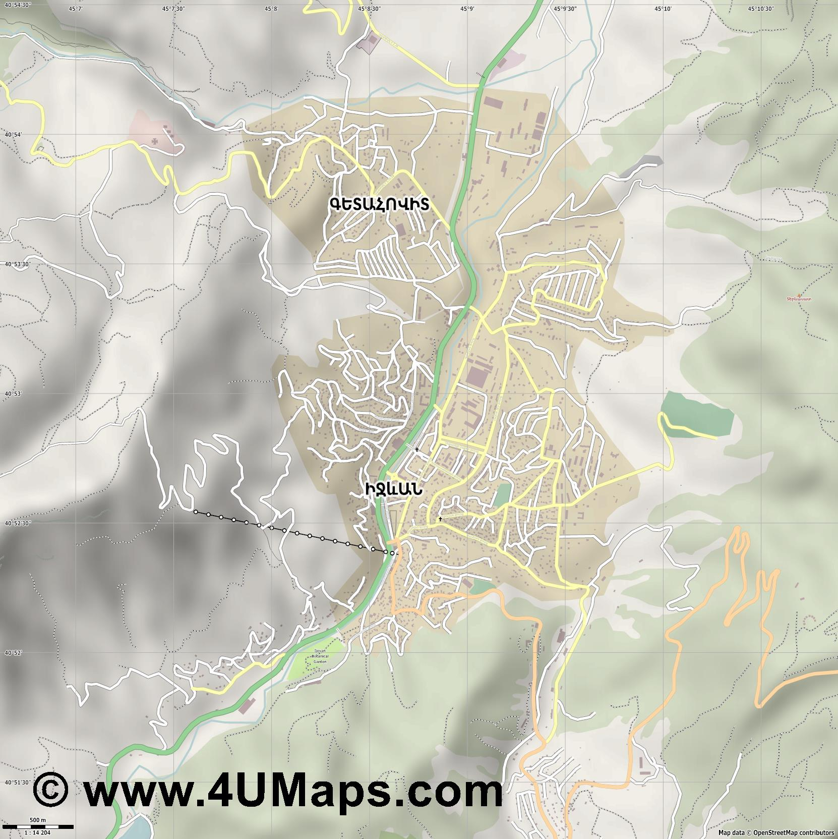 Իջևան Ijevan Idschewan  jpg ultra high detail preview vector city map
