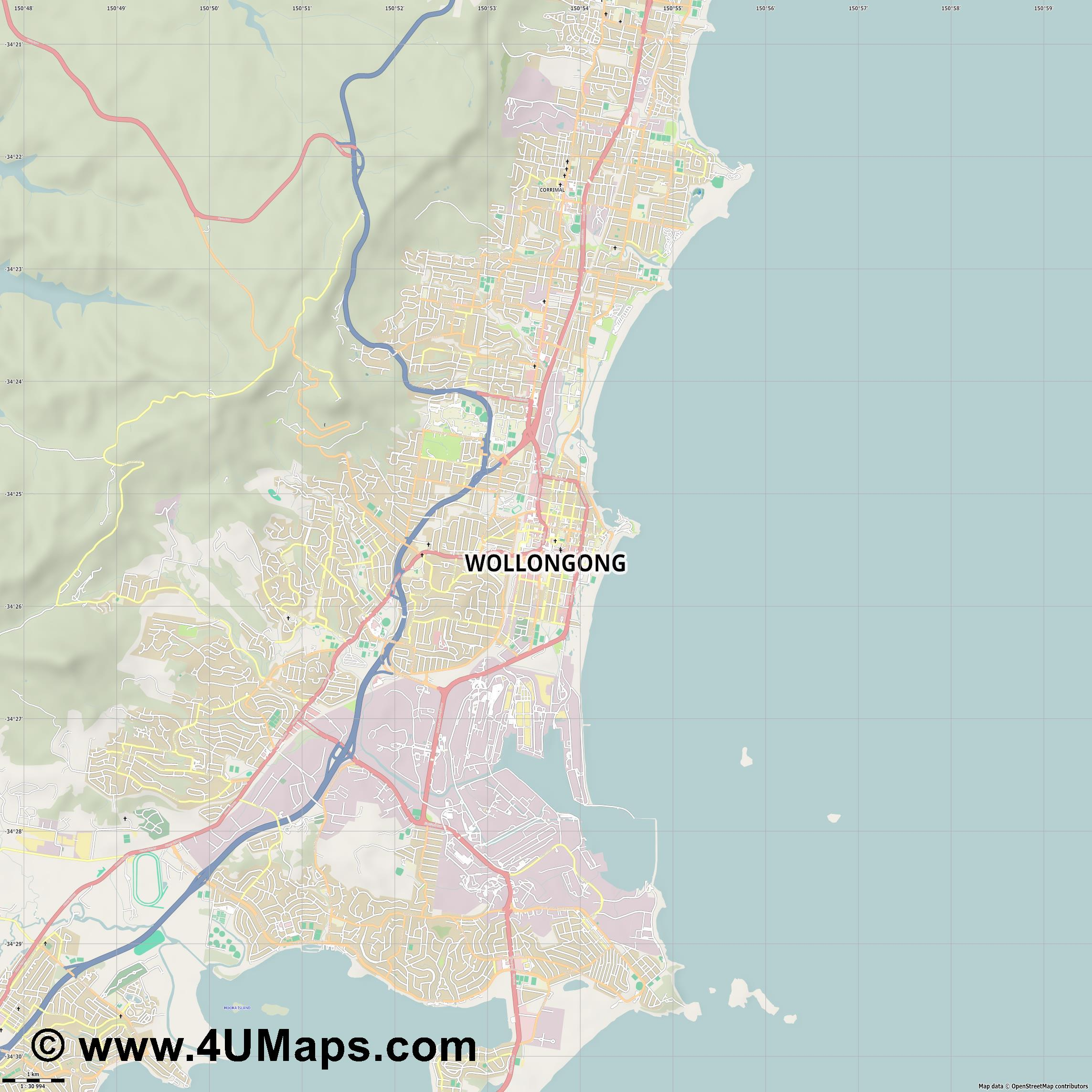 Wollongong  jpg high detail, large area preview vector city map