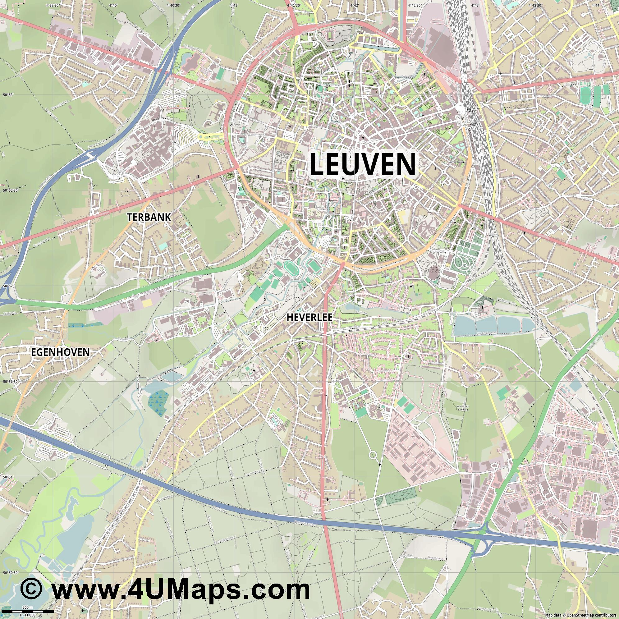 Heverlee  jpg ultra high detail preview vector city map