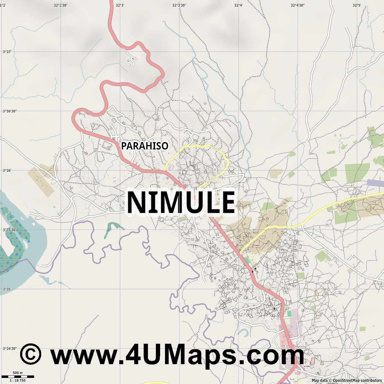 Nimule  jpg ultra high detail preview vector city map
