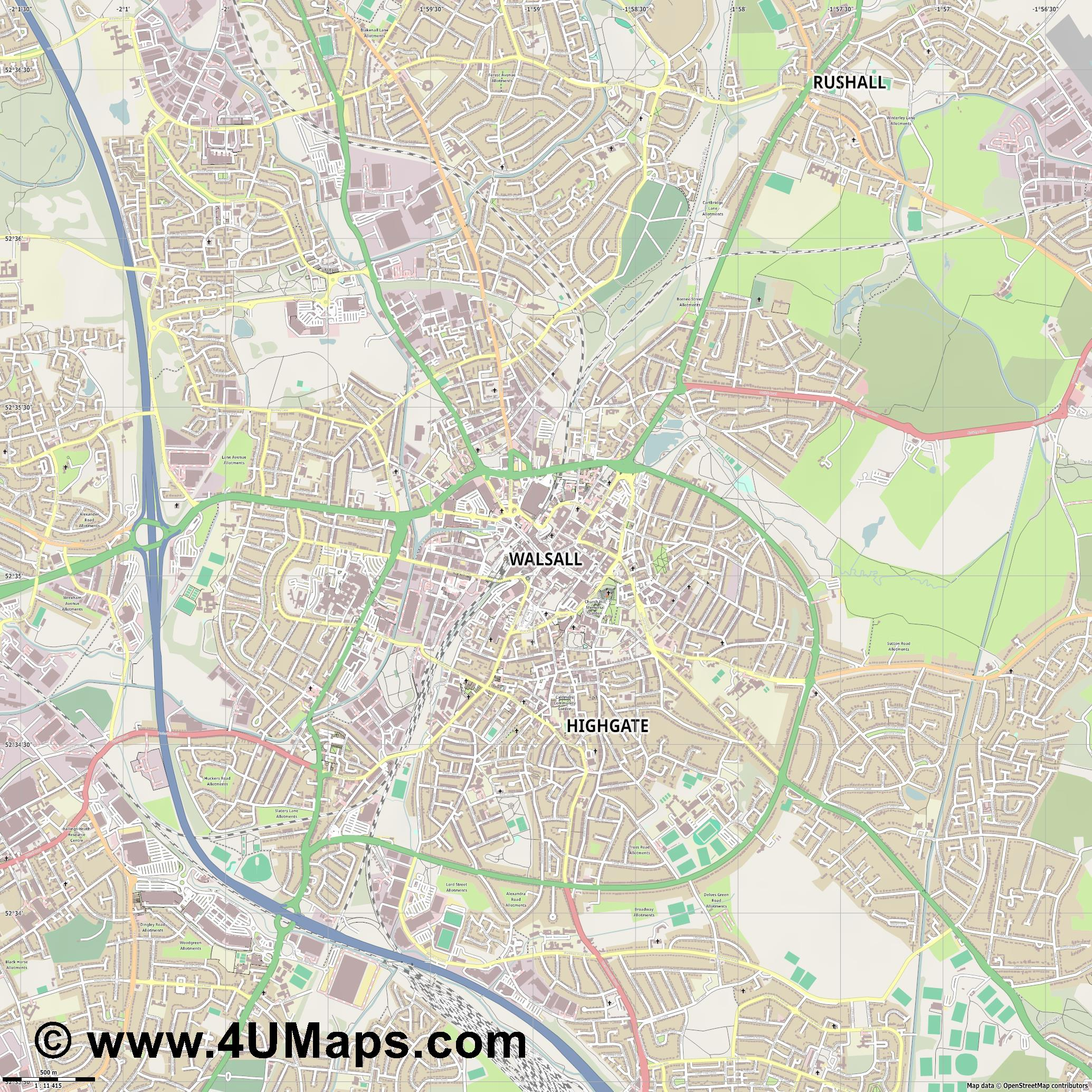 Walsall  jpg ultra high detail preview vector city map