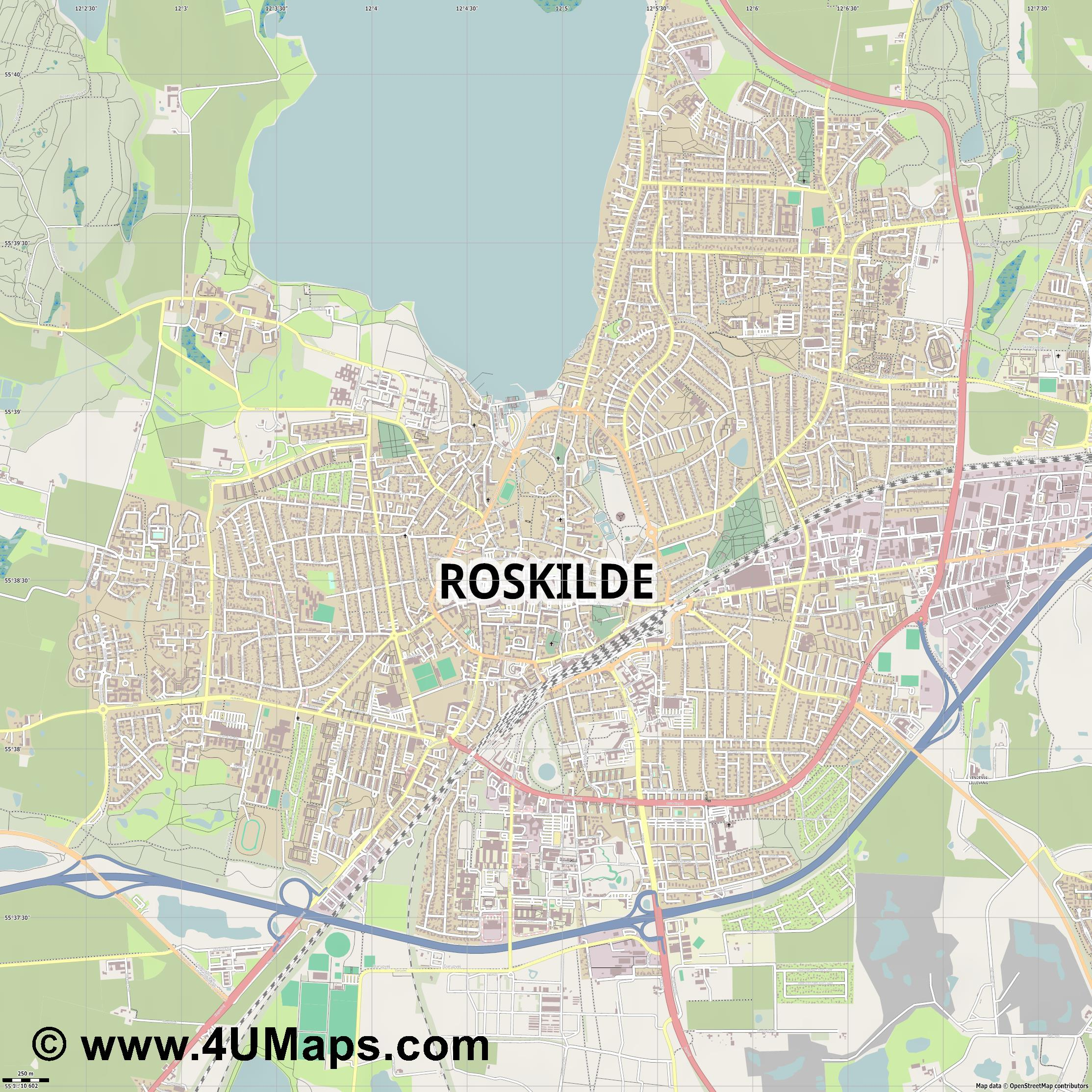 Roskilde  jpg ultra high detail preview vector city map