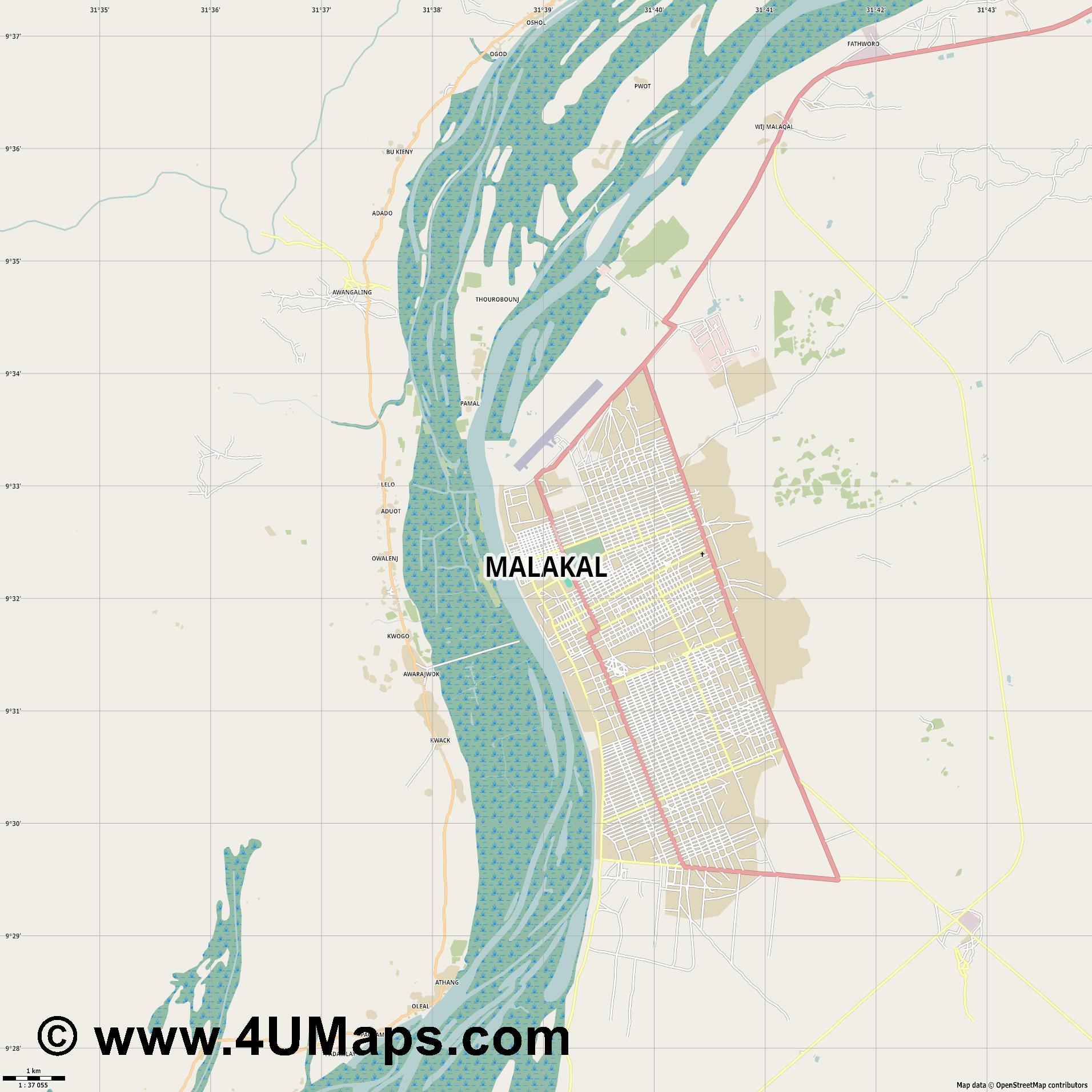 Malakal ملكال  jpg high detail, large area preview vector city map
