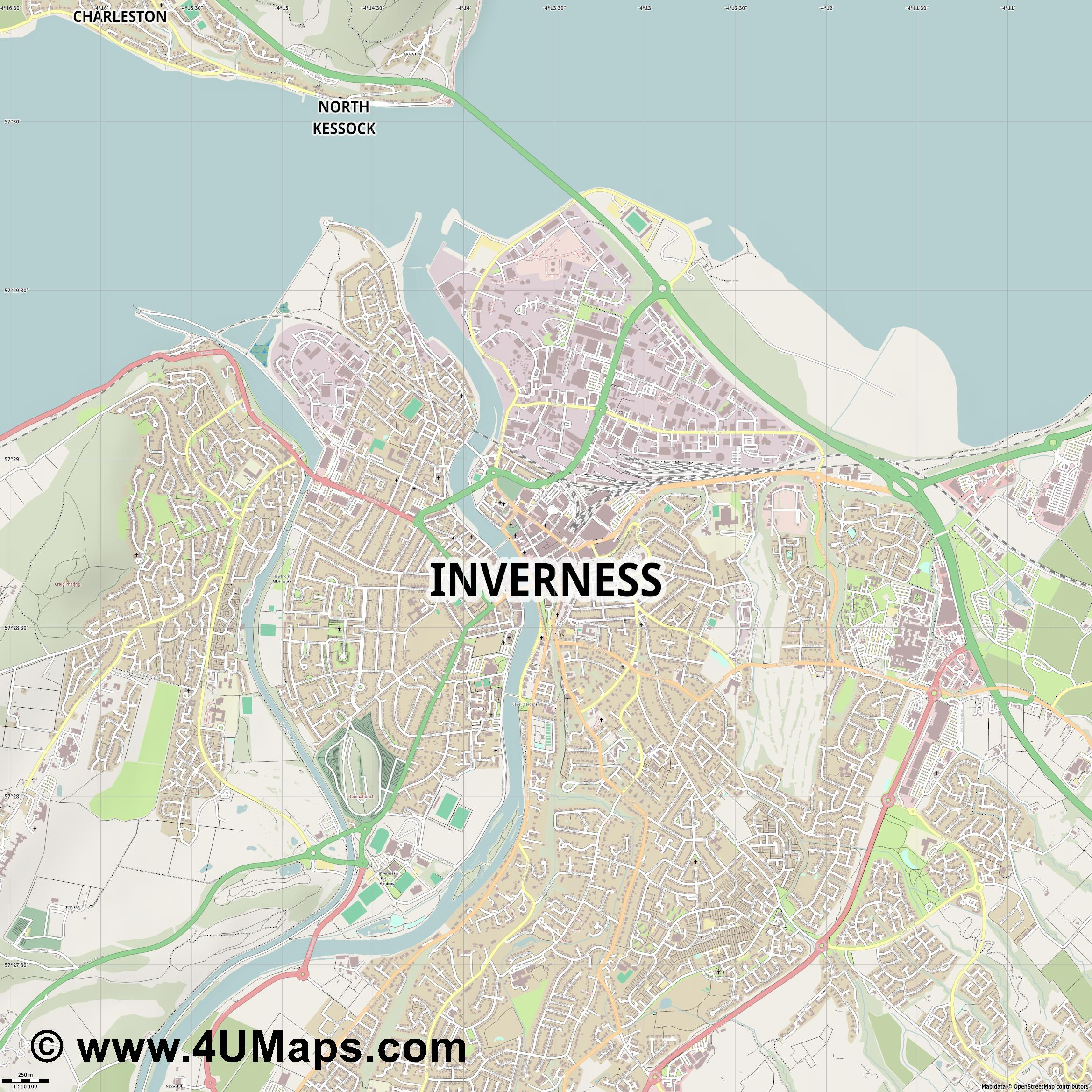 Inverness  jpg ultra high detail preview vector city map
