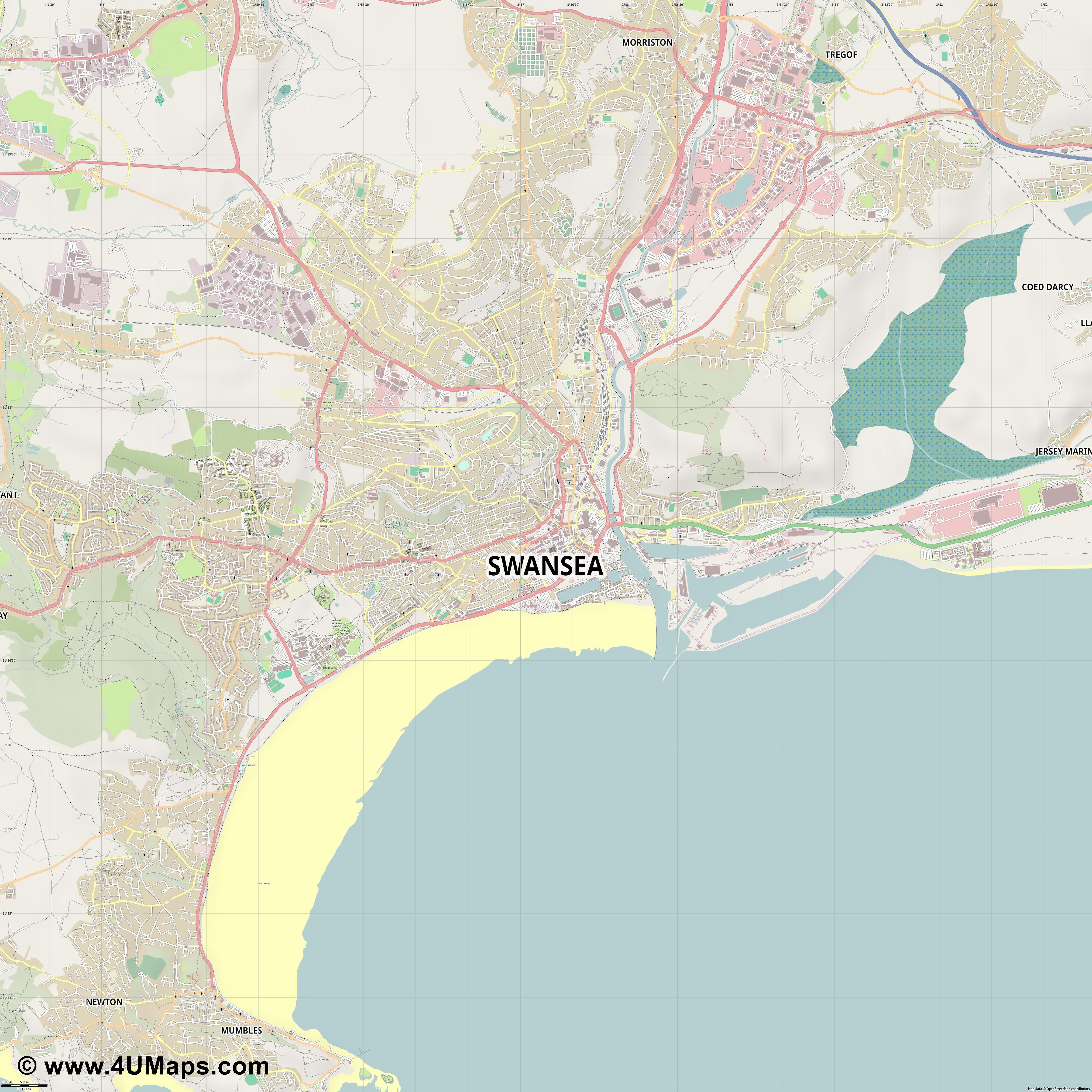 Swansea  jpg ultra high detail preview vector city map