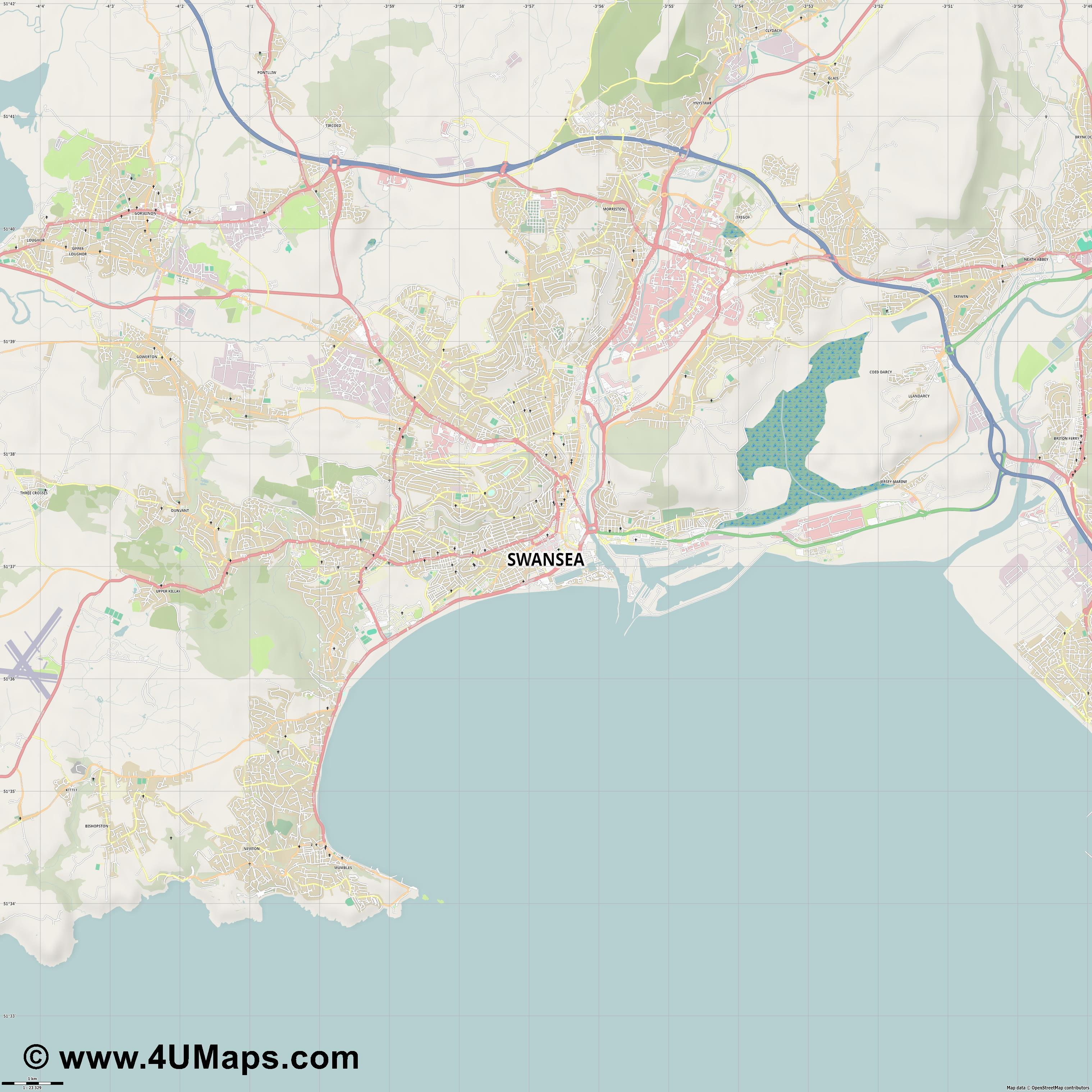 Swansea  jpg high detail, large area preview vector city map