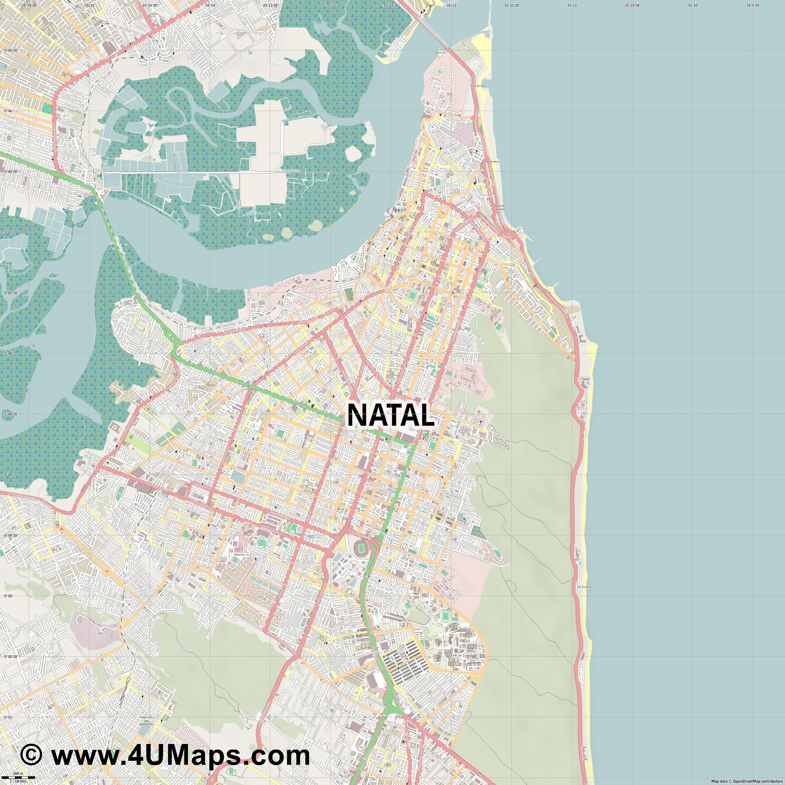 Natal  jpg ultra high detail preview vector city map