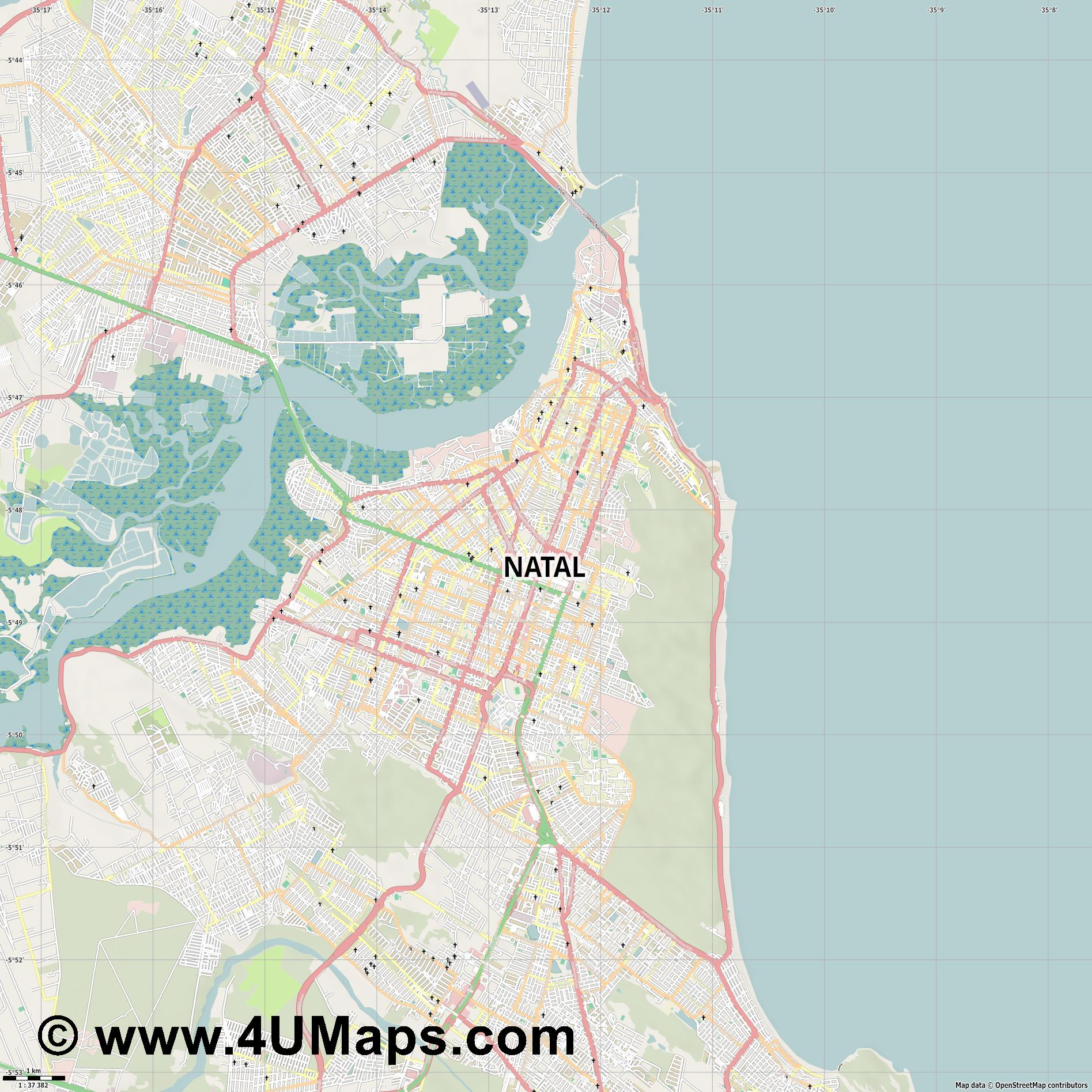 Natal  jpg high detail, large area preview vector city map