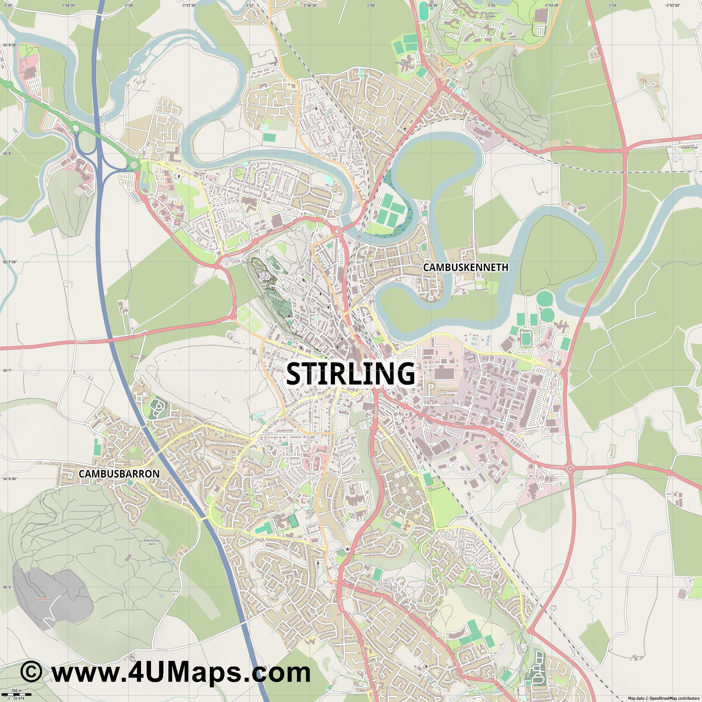 Stirling  jpg ultra high detail preview vector city map